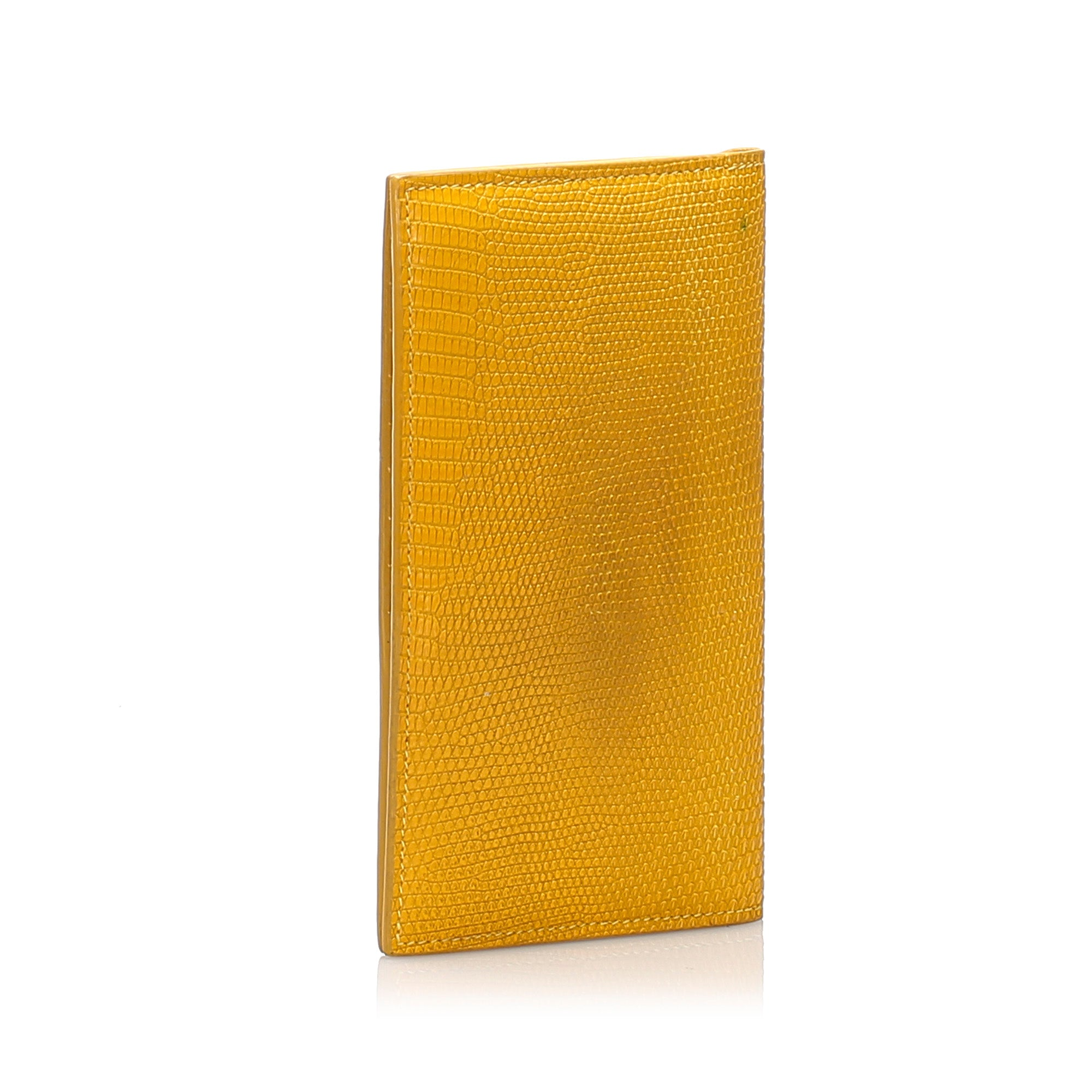 Bottega Veneta Yellow Lizard Leather Wallet