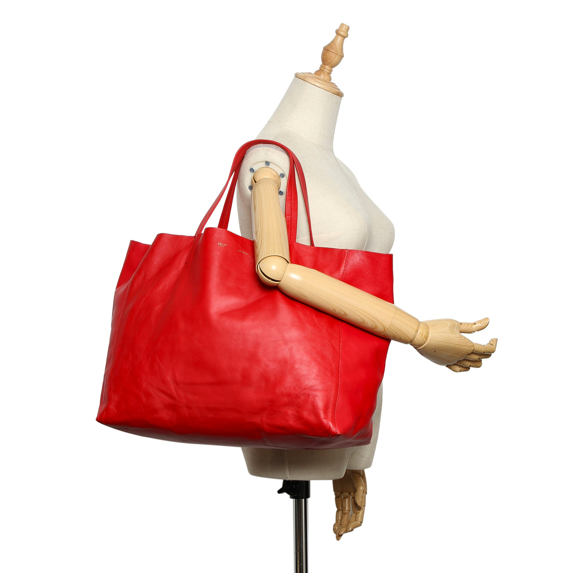 Celine Red Horizontal Cabas Leather Tote Bag