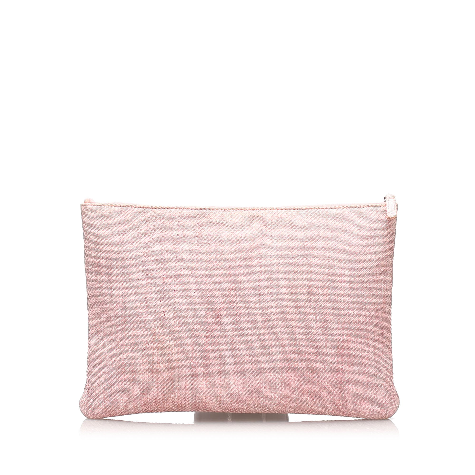 Chanel Pink Deauville O-Case Canvas Clutch Bag