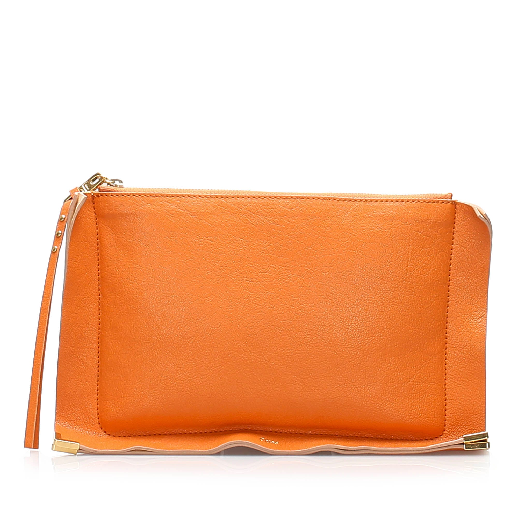 Chloe Orange Leather Clutch Bag