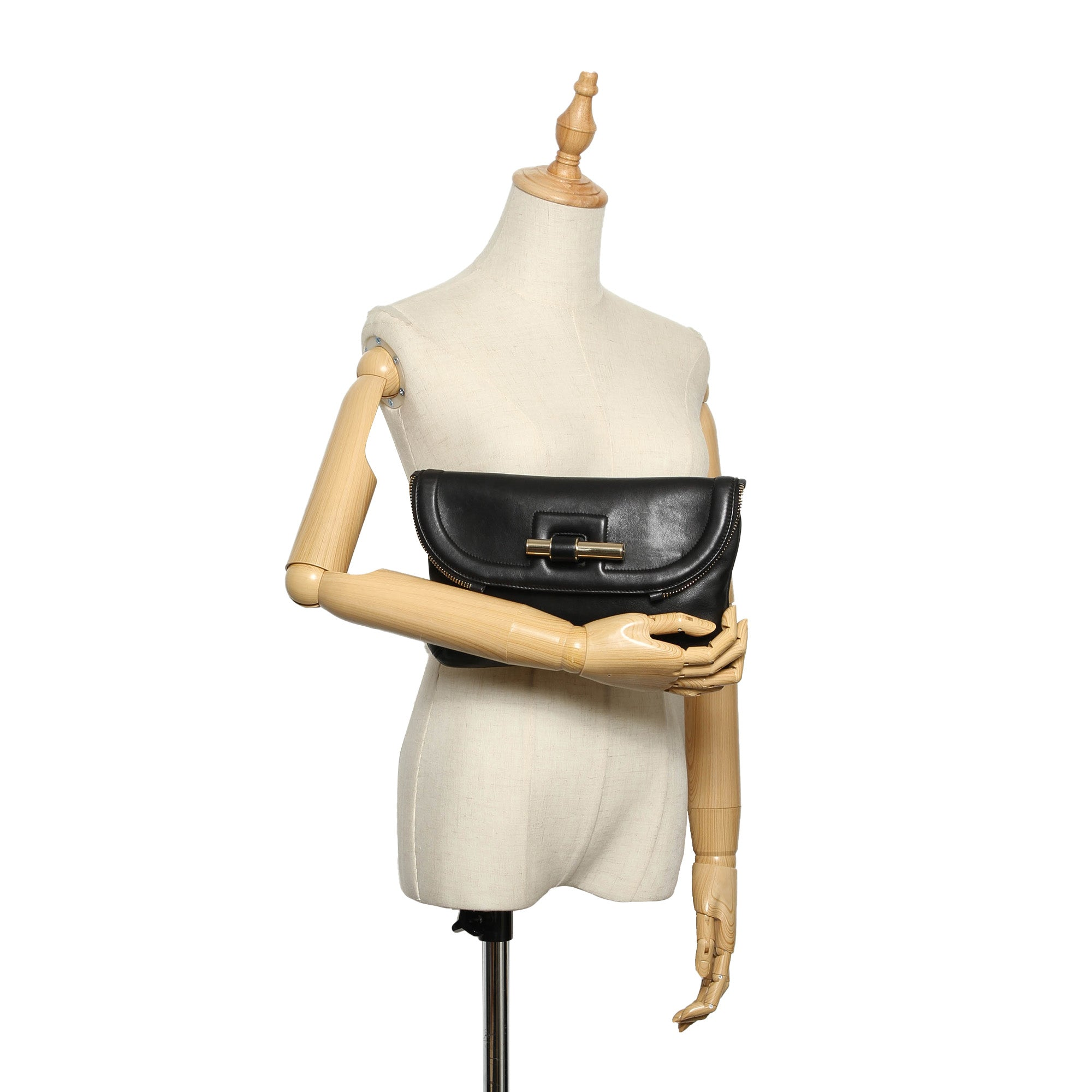 Jimmy Choo Black Justine Leather Clutch Bag
