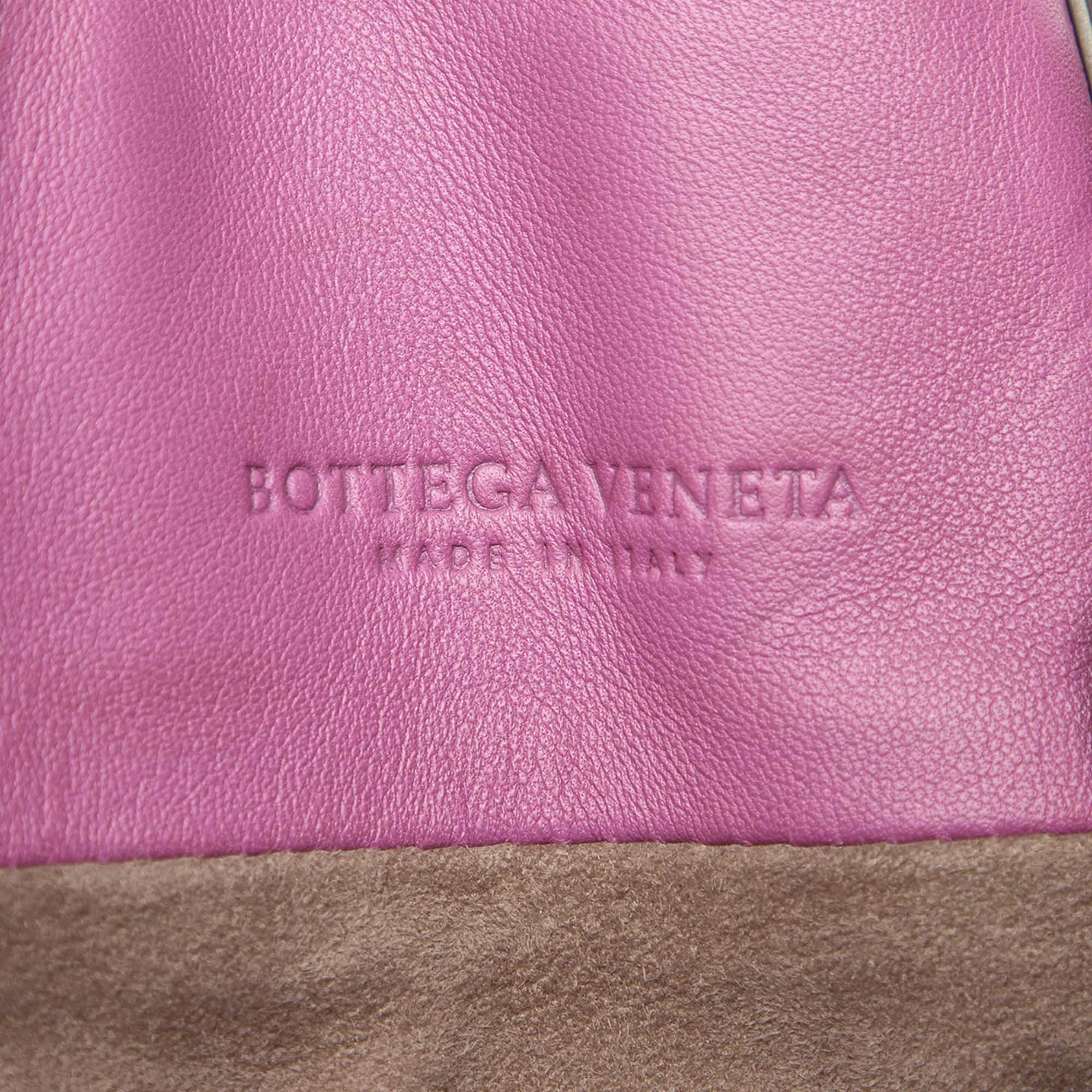 Bottega Veneta Pink Intrecciato Leather Satchel