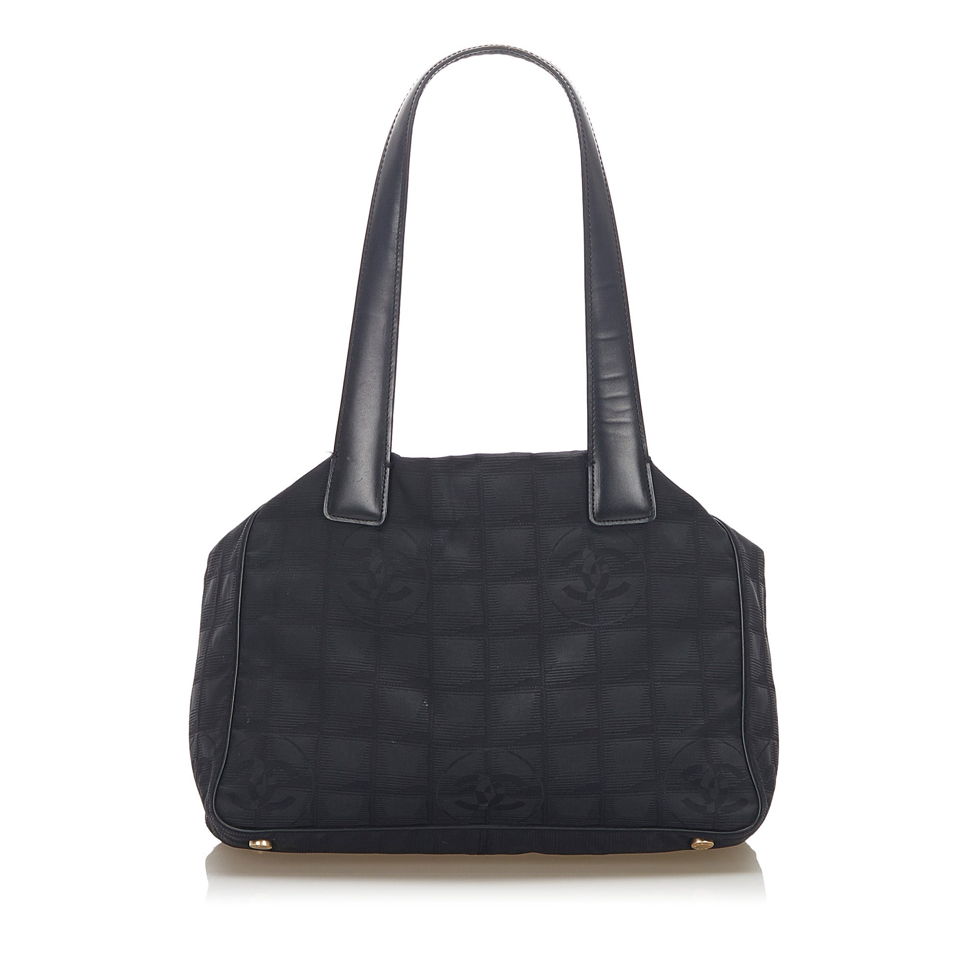 Chanel Black New Travel Line Canvas Tote Bag