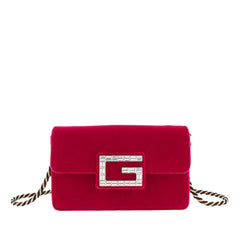 Gucci Red Broadway Velvet Crossbody Bag