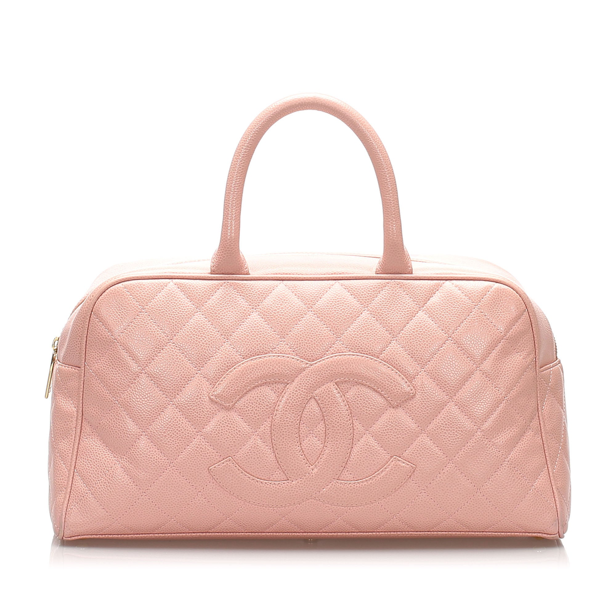 Chanel Pink Matelasse Caviar Leather Boston Bag