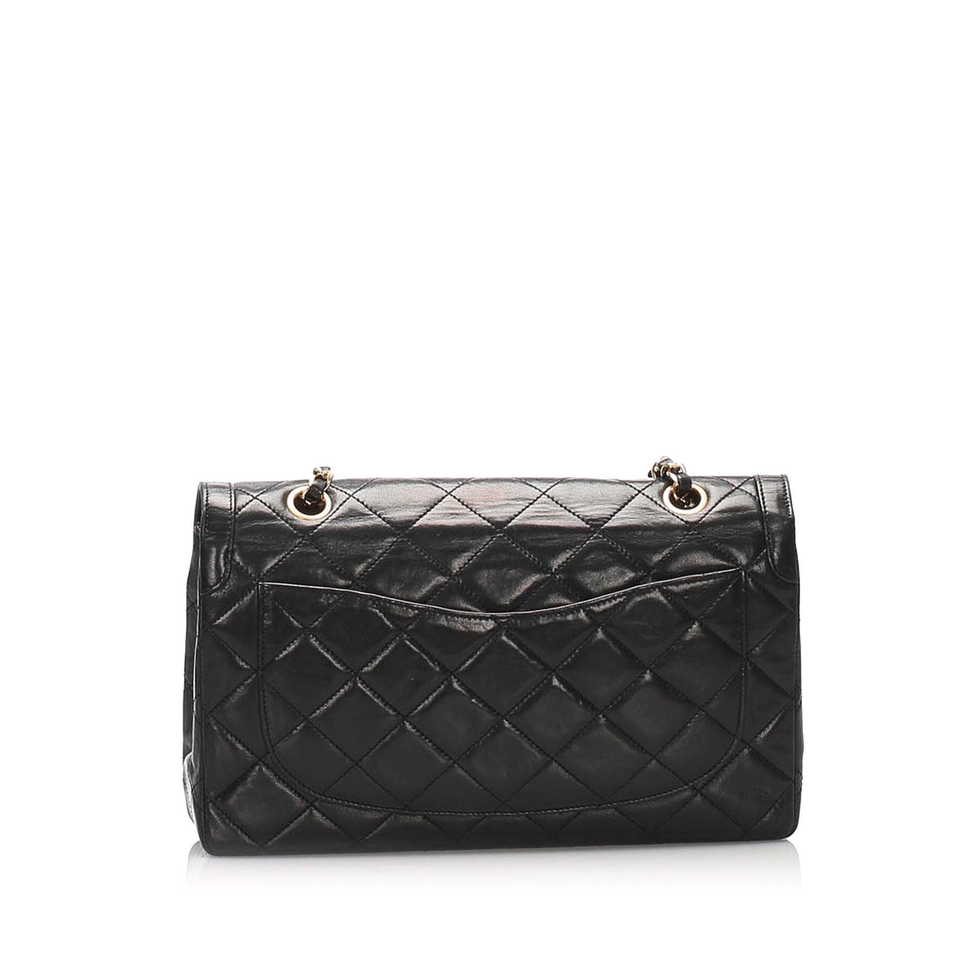 Chanel Black CC Lambskin Leather Flap Bag