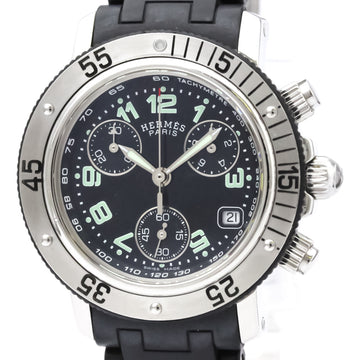 Hermes Black Clipper Diver Chronograph Quartz Womens Watch