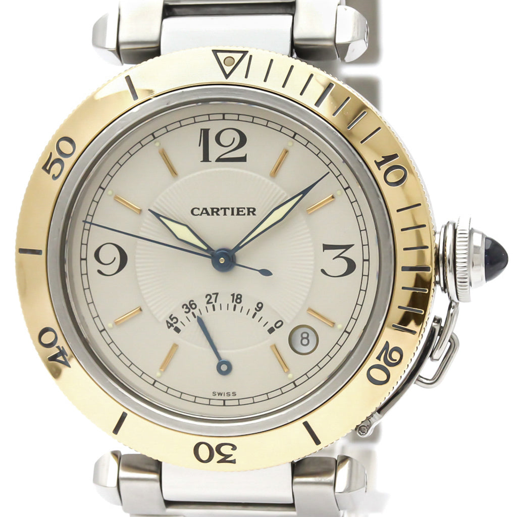 Cartier Silver Stainless Steel and 18K Yellow Gold Pasha Automatic W31012H3