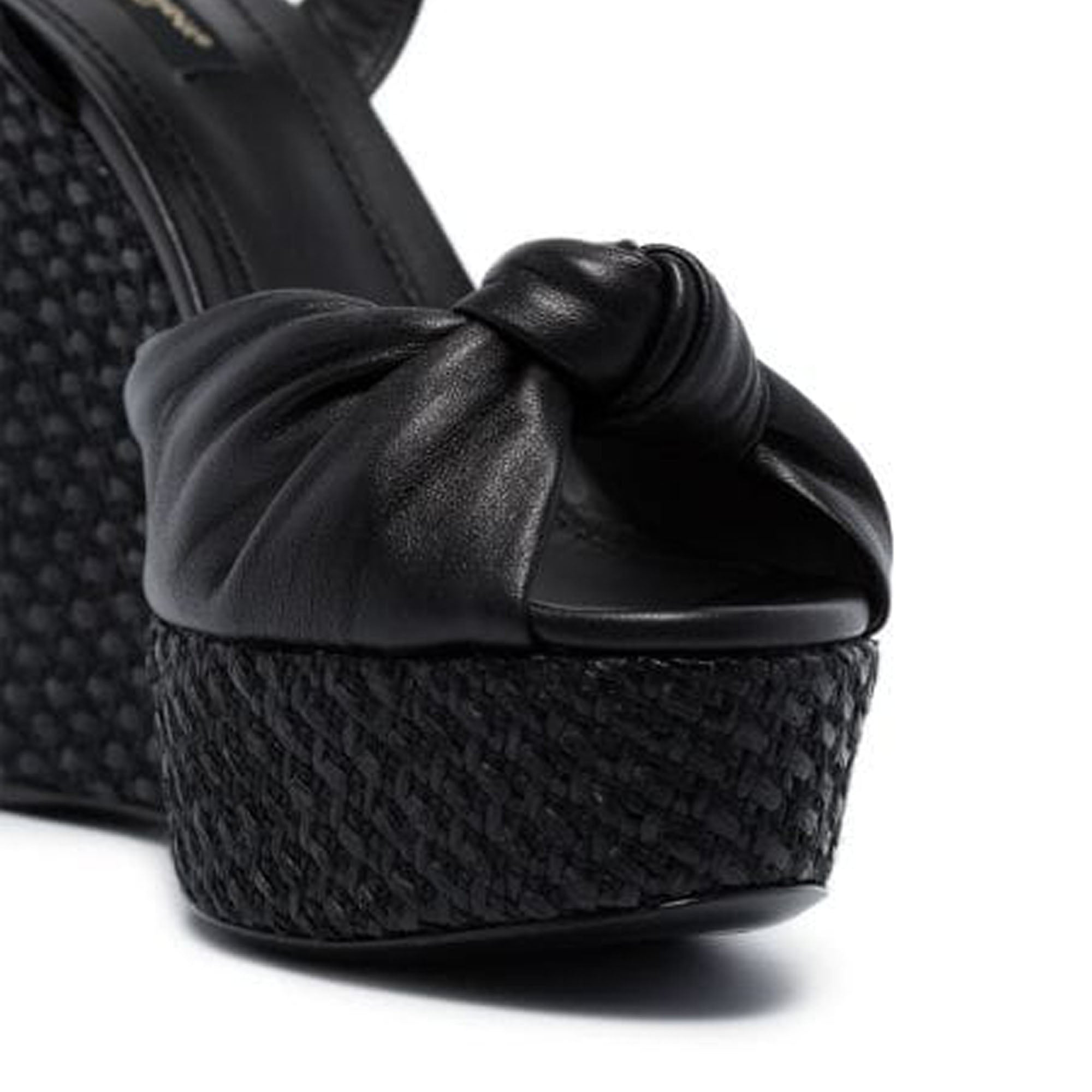 Dolce&Gabbana Black Leather Knot Wedge