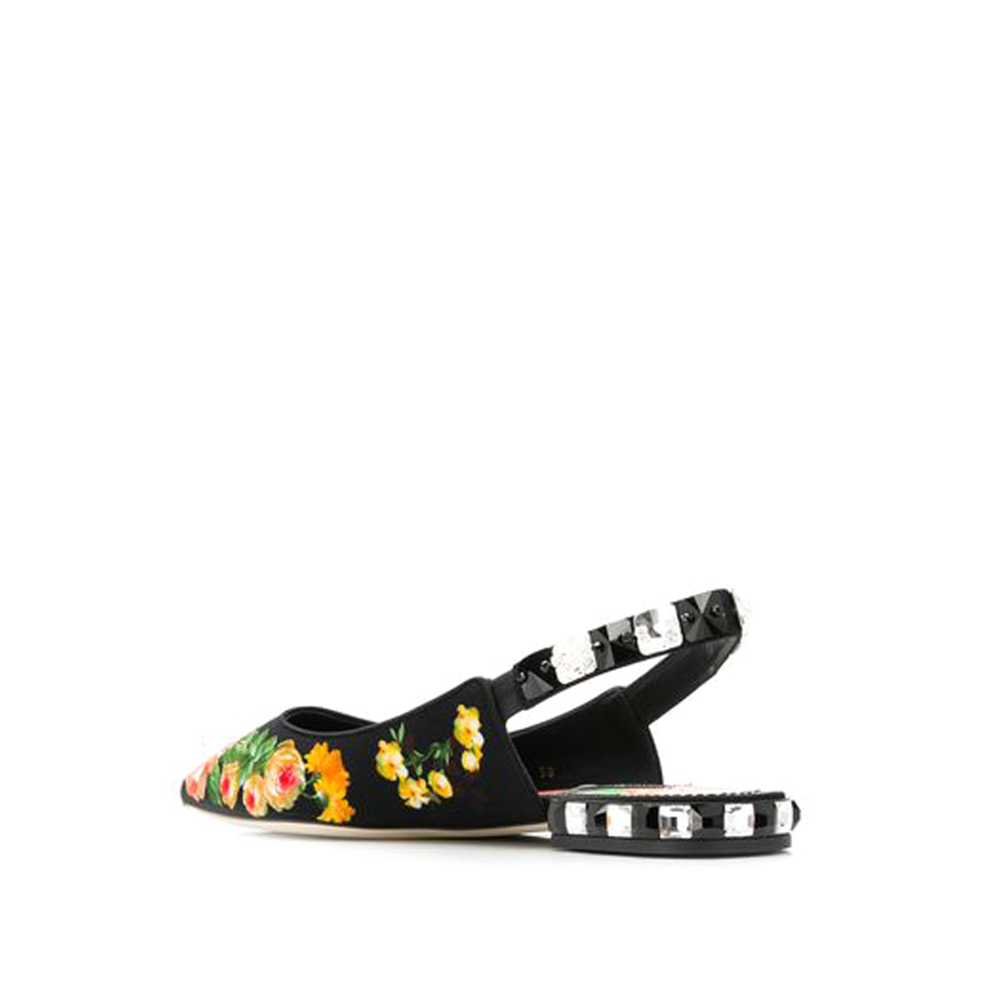Dolce&Gabbana Black Floral Cotton Flats