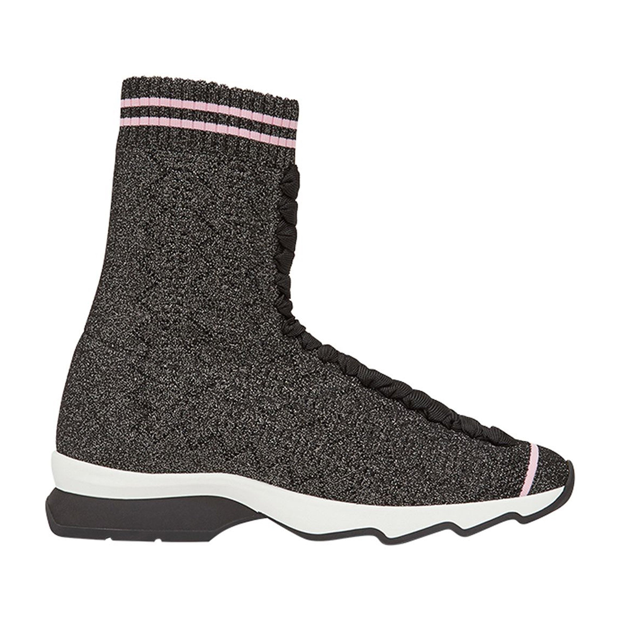 Fendi Gray Fabric Sock Sneakers