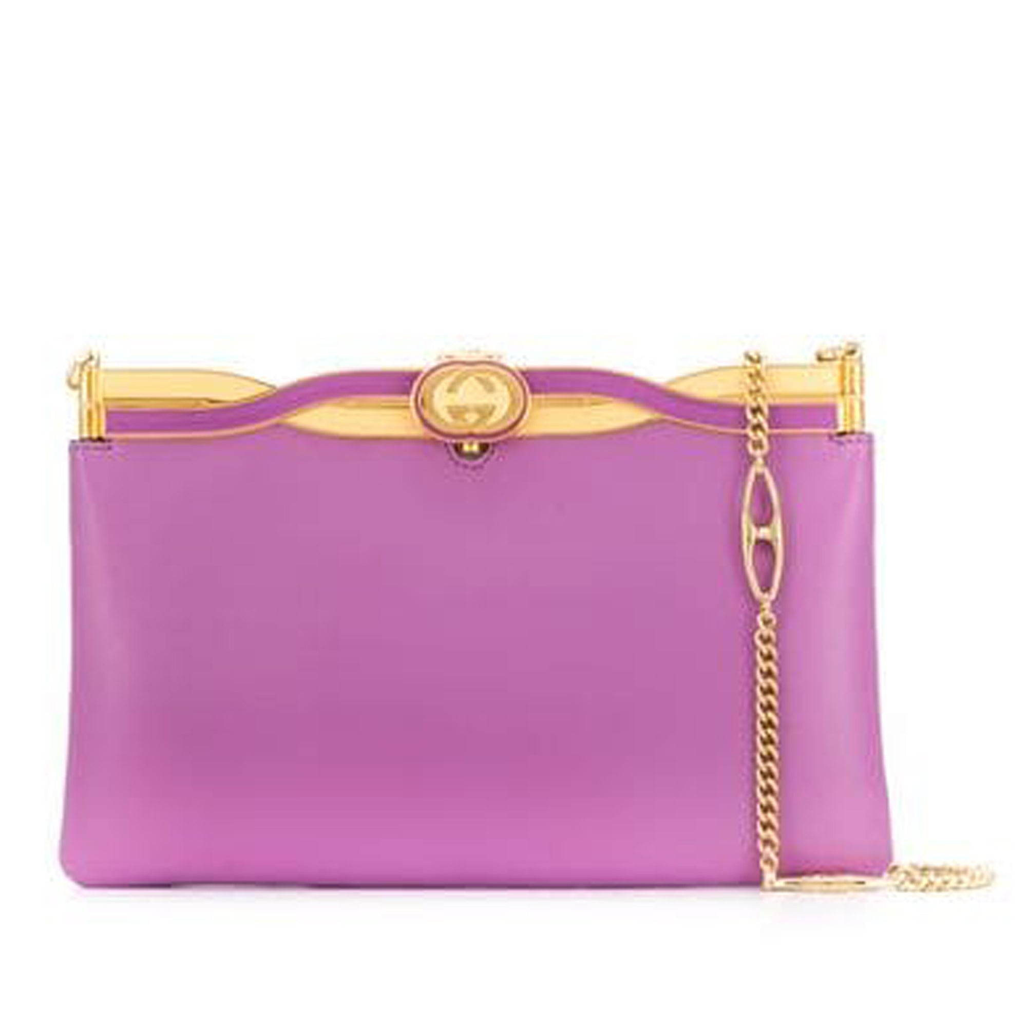 Gucci Purple Broadway Leather Evening Bag