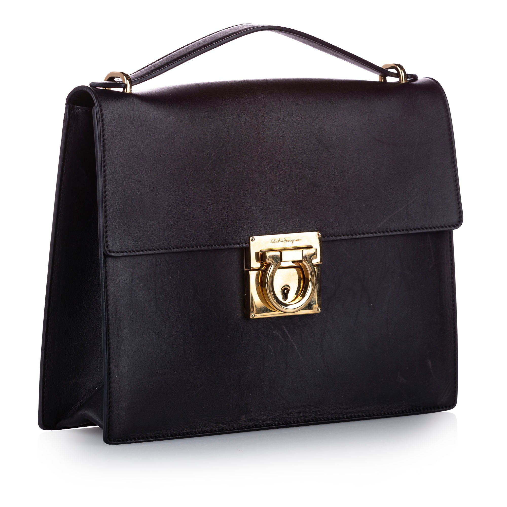 Ferragamo Black Gancini Leather Satchel