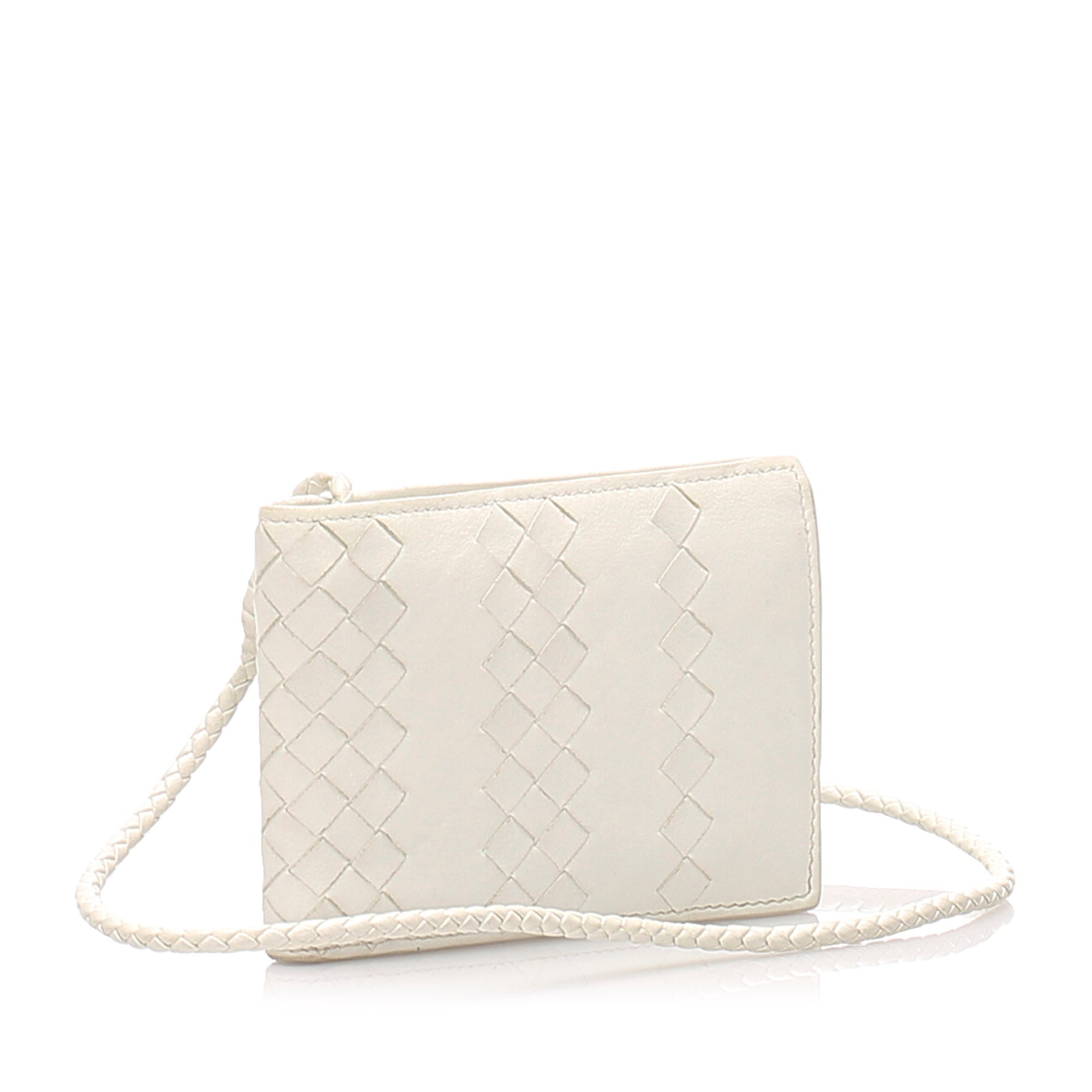 Bottega Veneta White Intrecciato Leather Small Wallet
