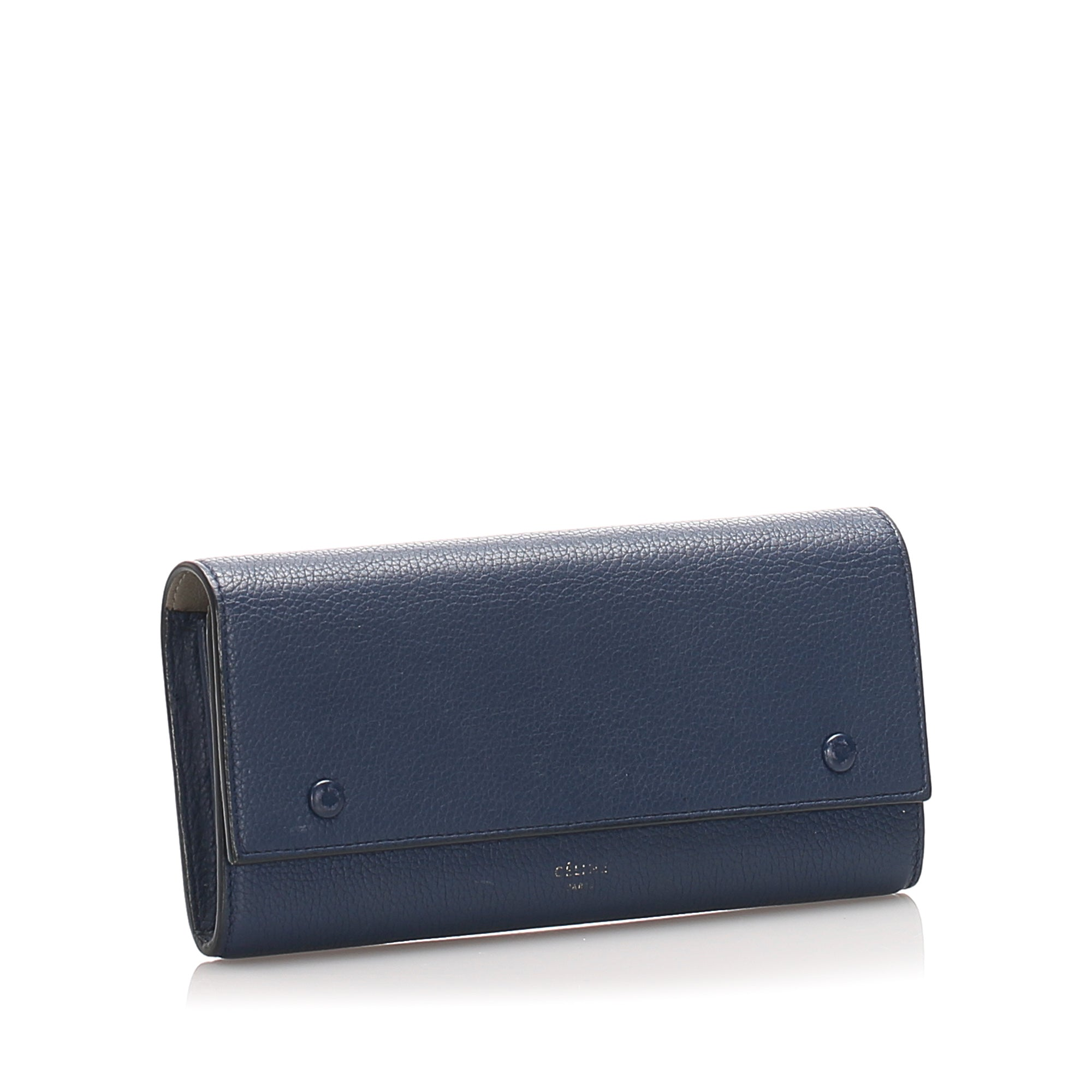 Celine Blue Continental Leather Wallet