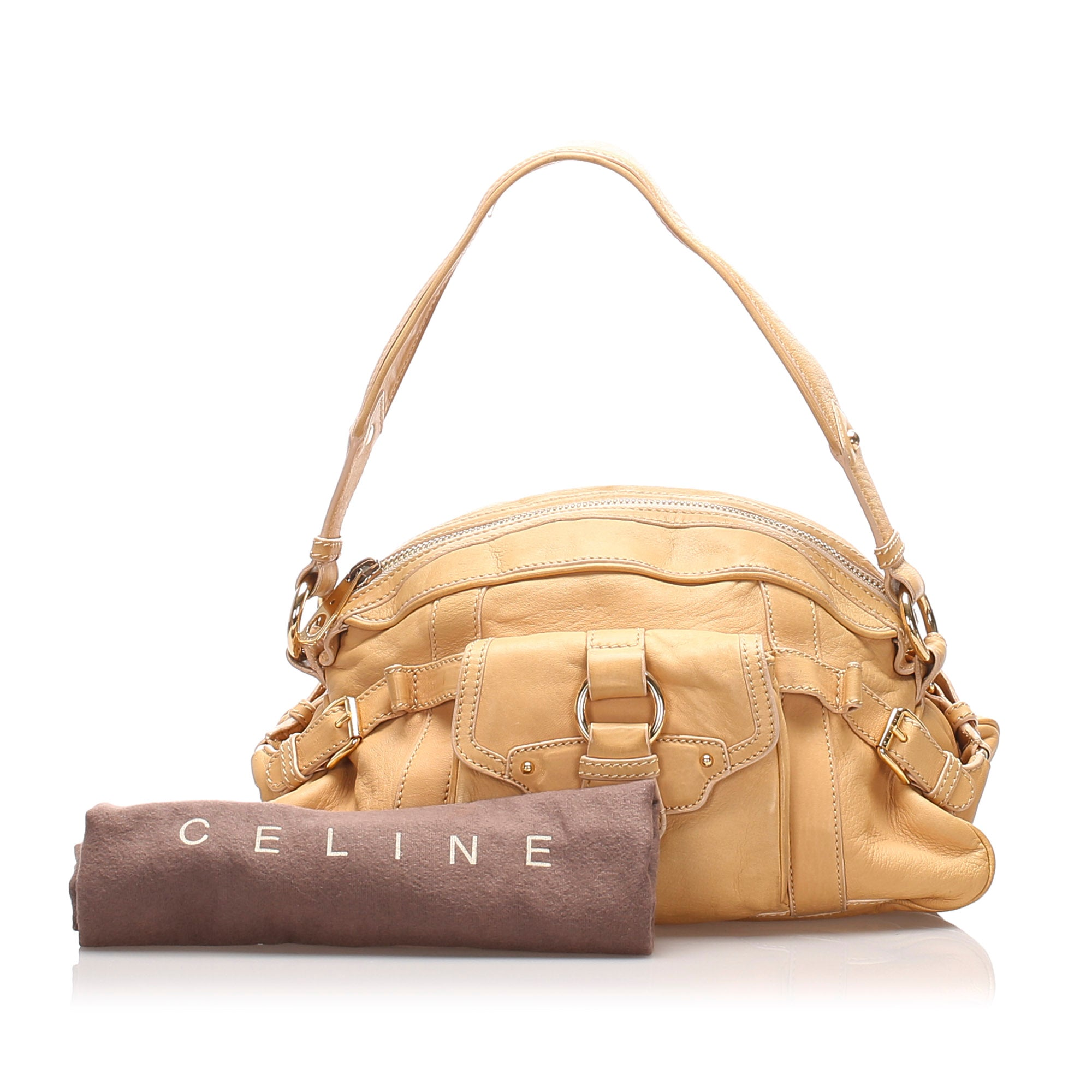 Celine Brown Leather Shoulder Bag