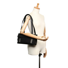 Ferragamo Black Canvas Shoulder Bag