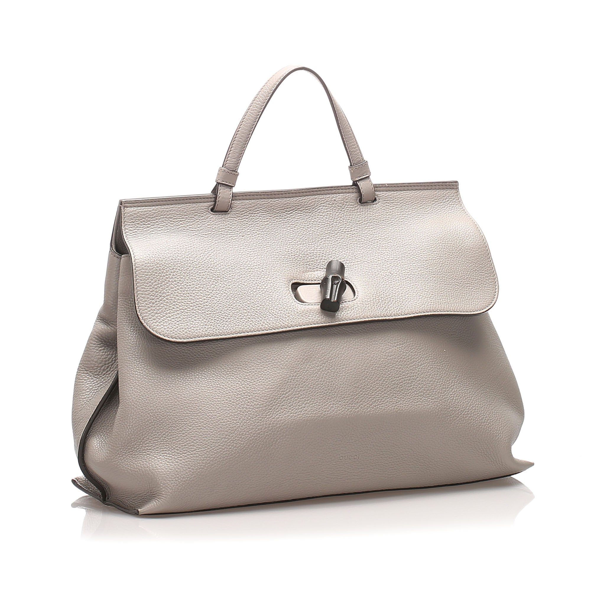 Gucci Gray Leather Bamboo Daily Handbag