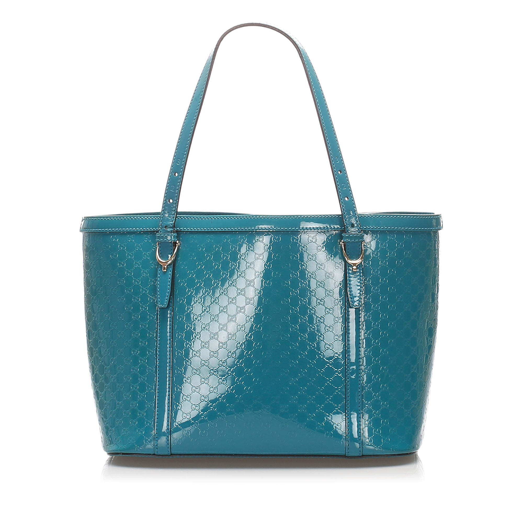 Gucci Blue Microguccissima Patent Leather Nice Tote Bag