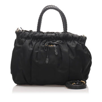 Prada Black Gathered Tessuto Satchel