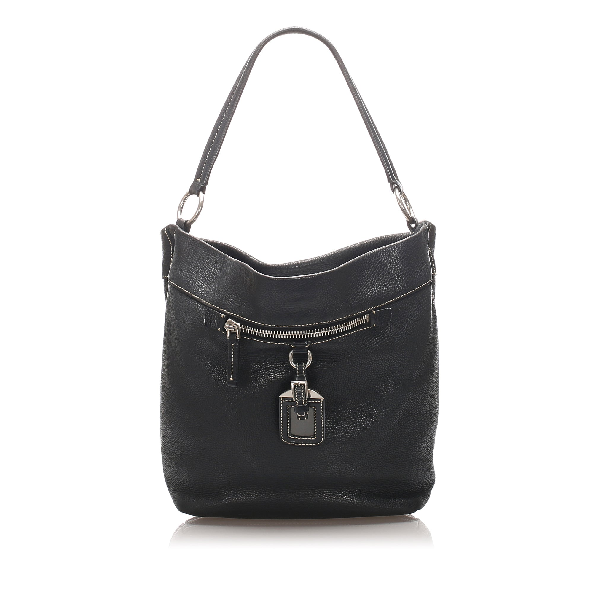 Prada Black Vitello Daino Leather Shoulder Bag