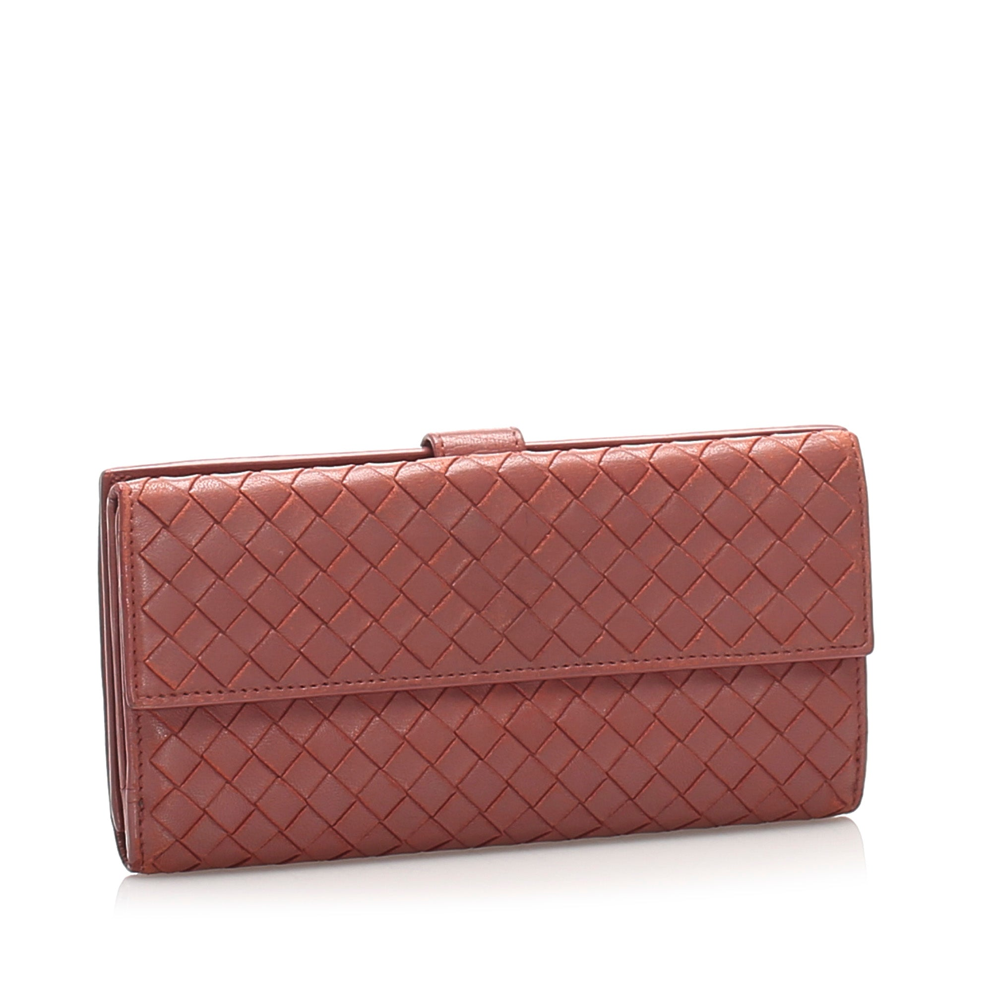 Bottega Veneta Red Intrecciato Leather Long Wallet