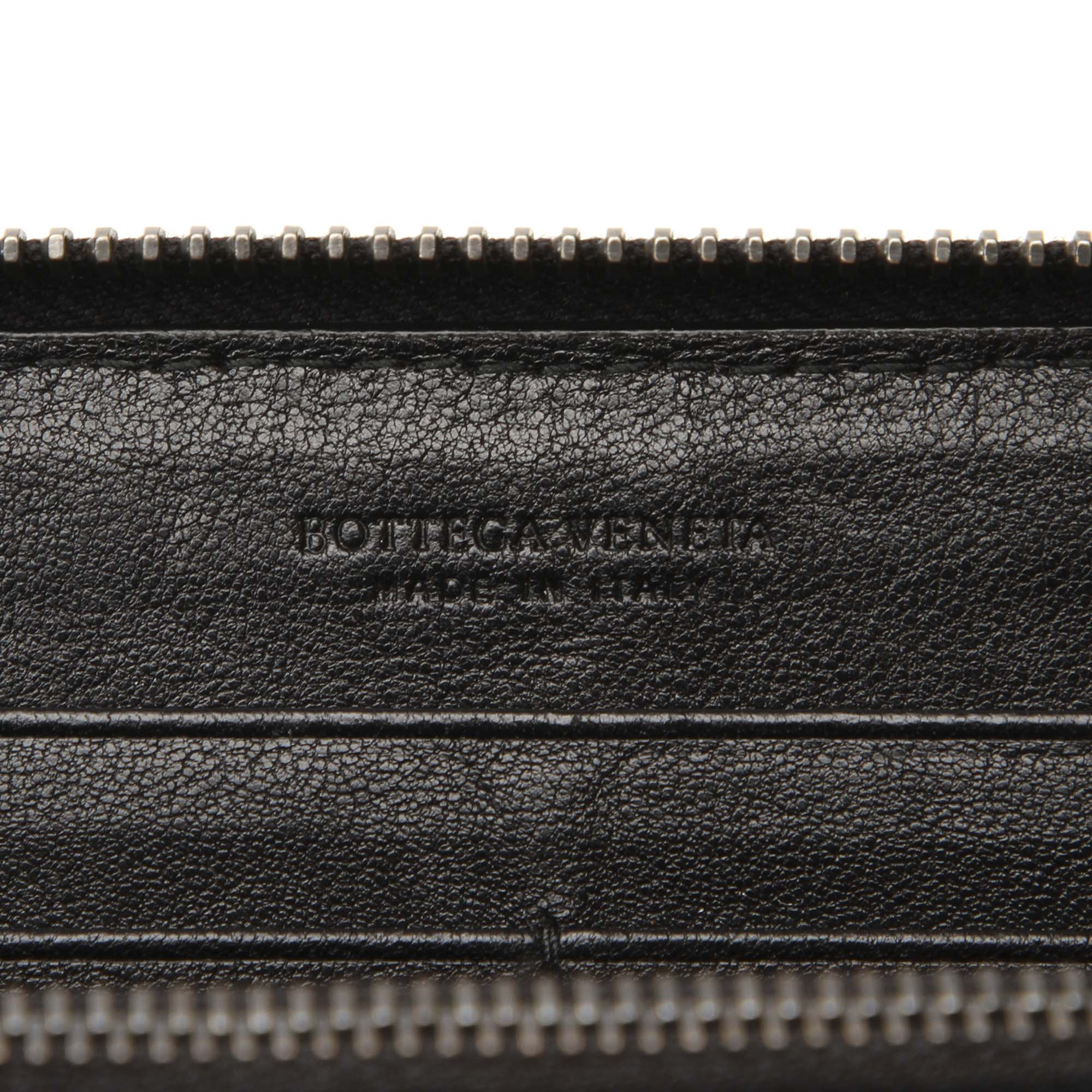 Bottega Veneta Black Intrecciato Leather Long Wallet