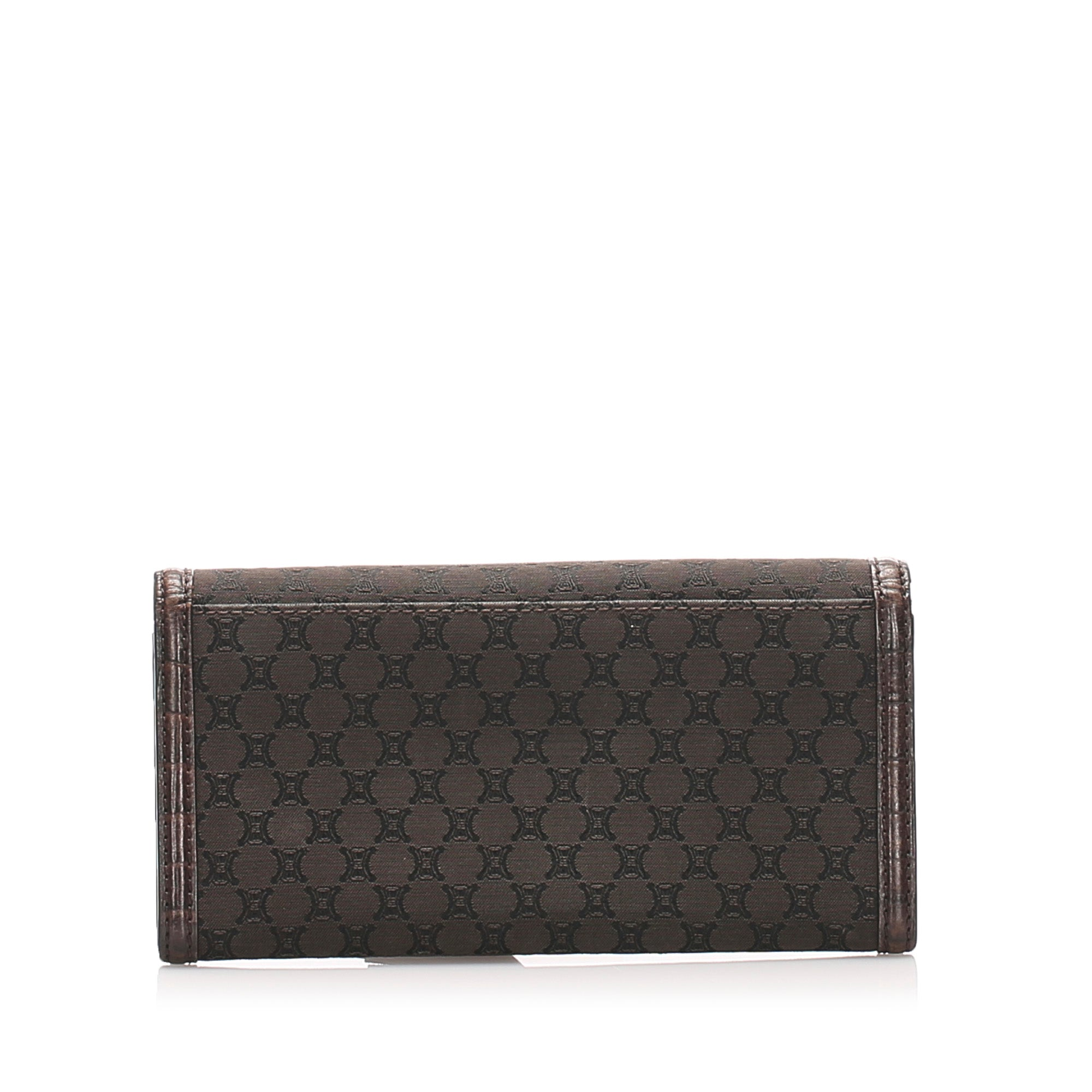 Celine Brown Macadam Canvas Long Wallet