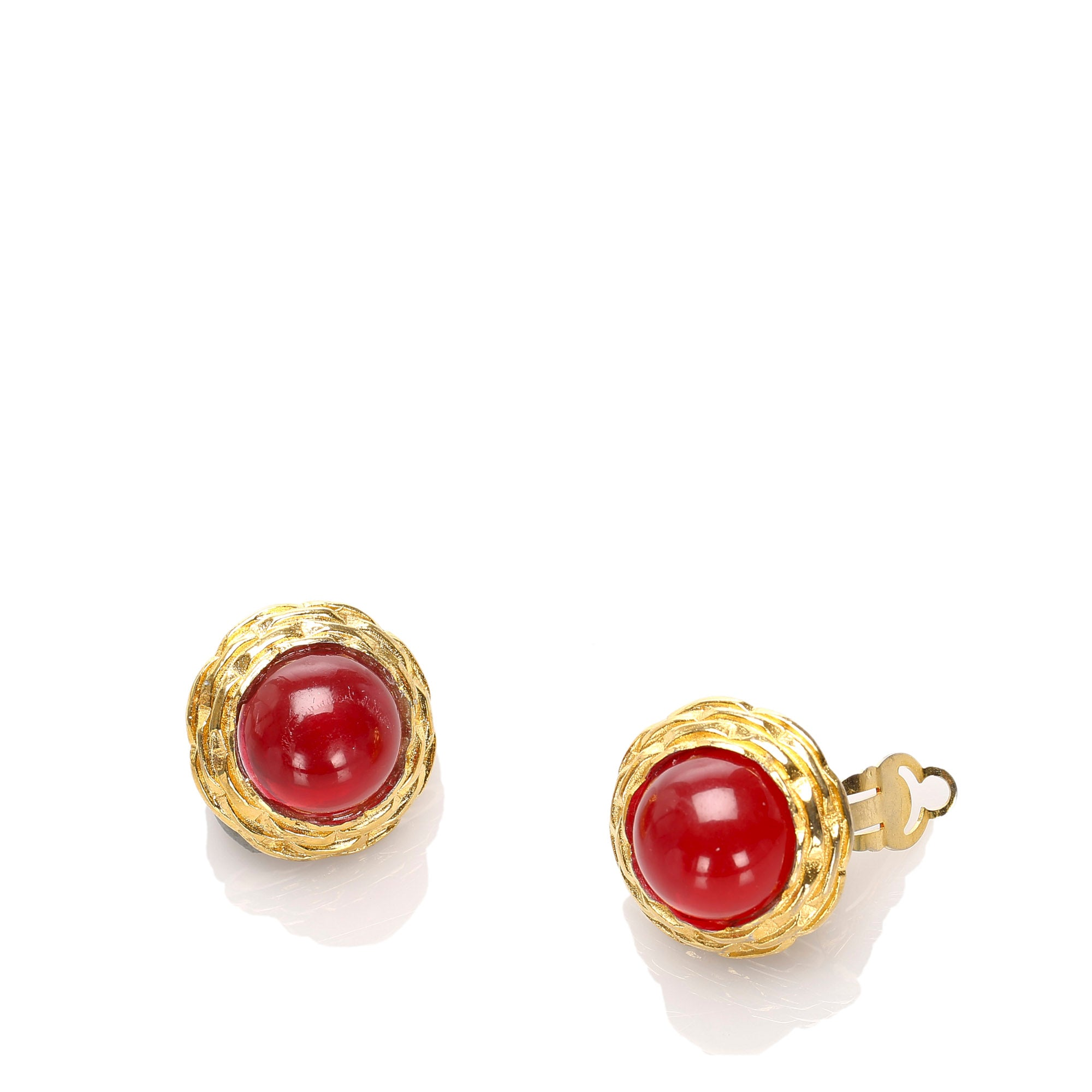 Chanel Red Round Stone Clip-on Earrings