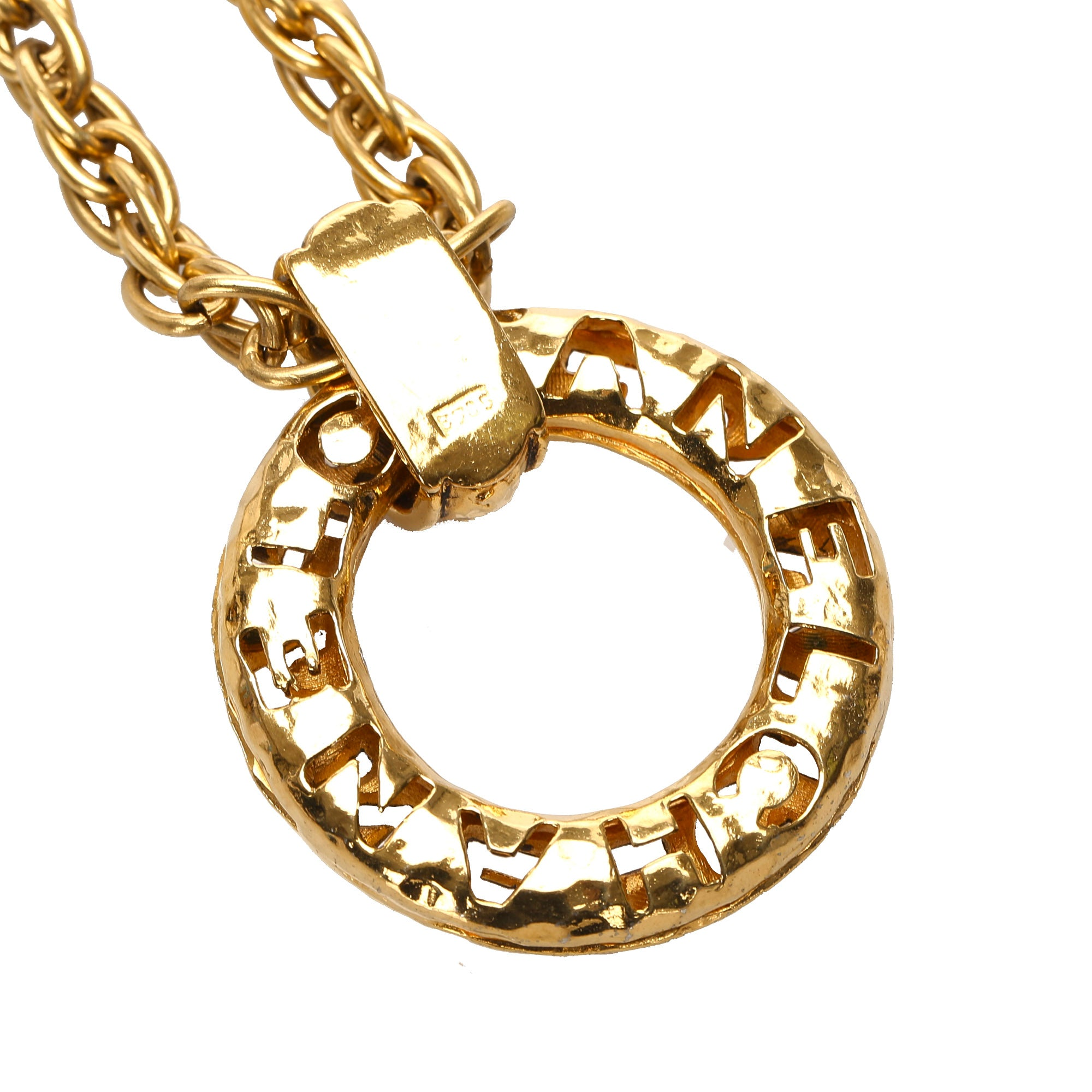 Chanel Gold Ring Pendant Necklace