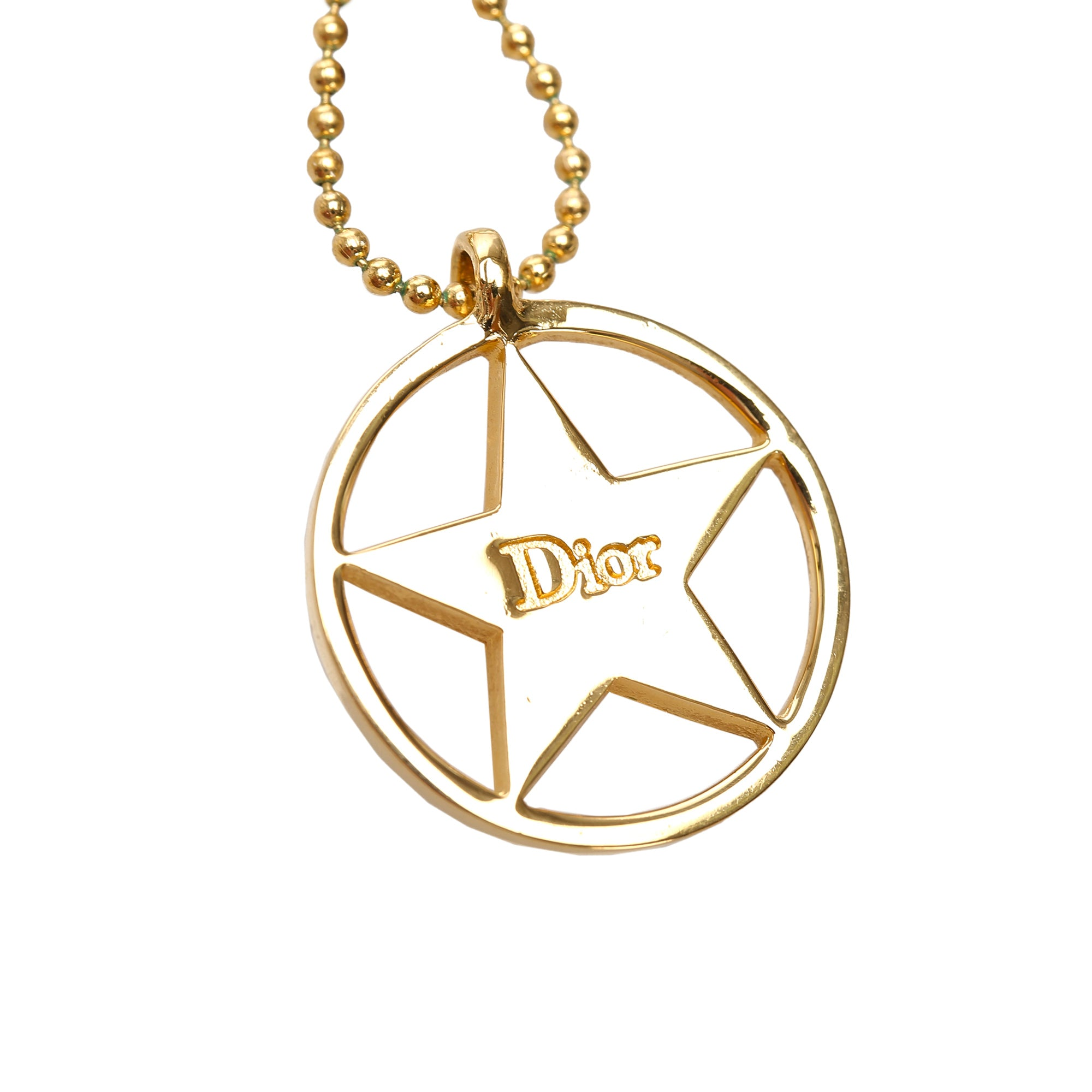 Dior Gold Circle Star Pendant Necklace