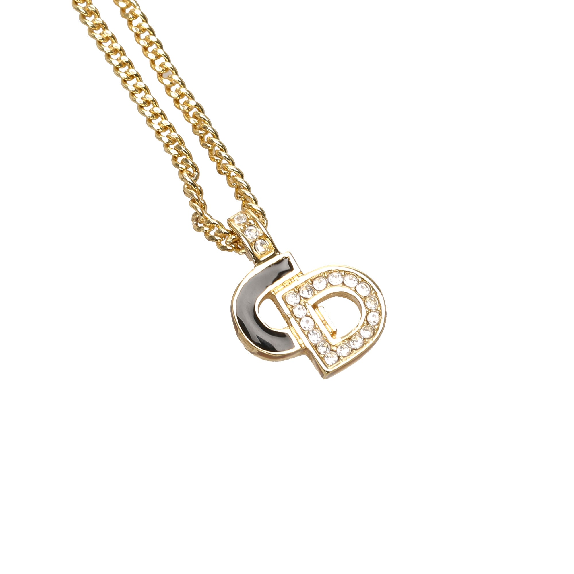 Dior Gold Logo Pendant Necklace