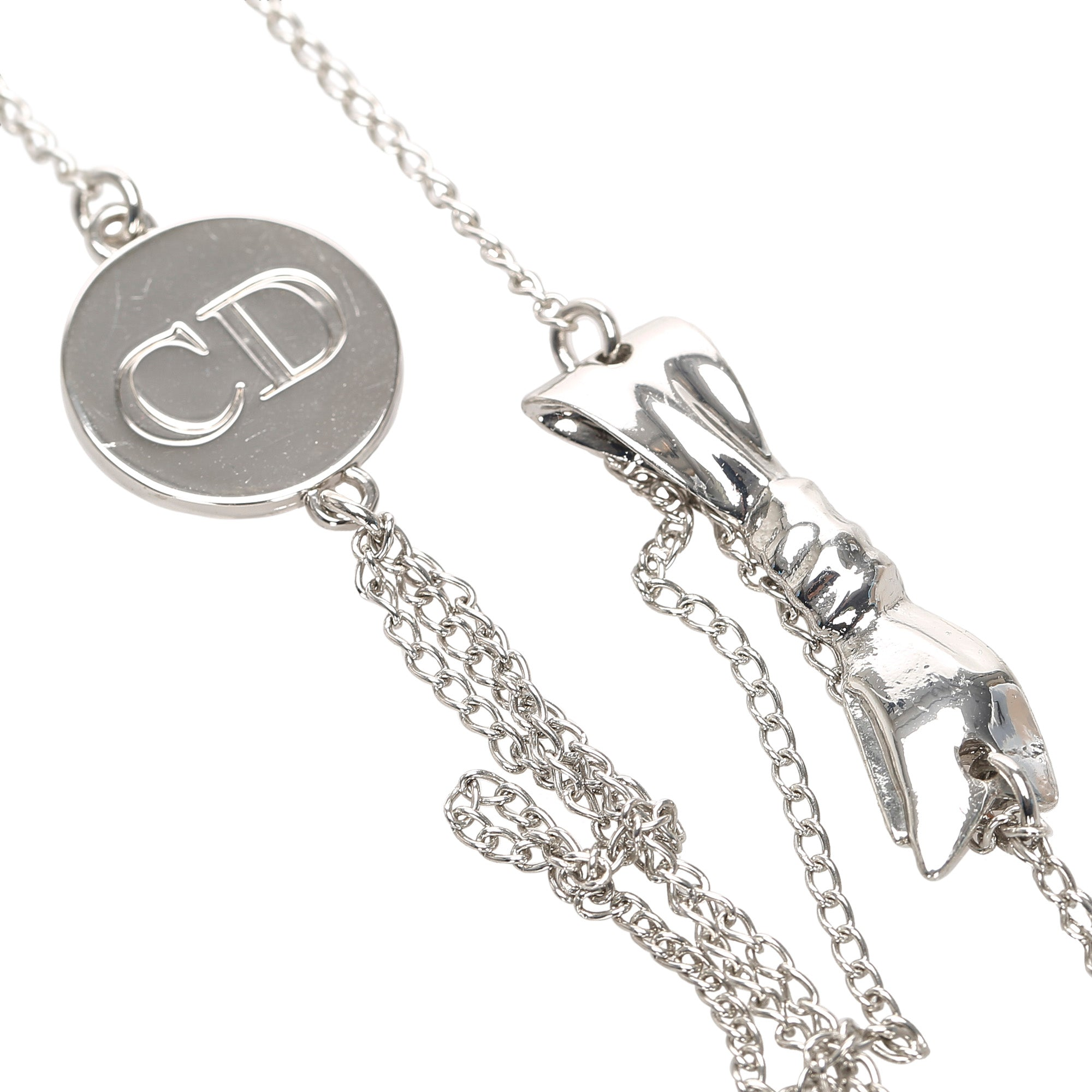 Dior Silver Ribbon Necklace