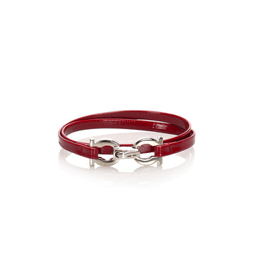 Ferragamo Red Gancini Leather Bracelet