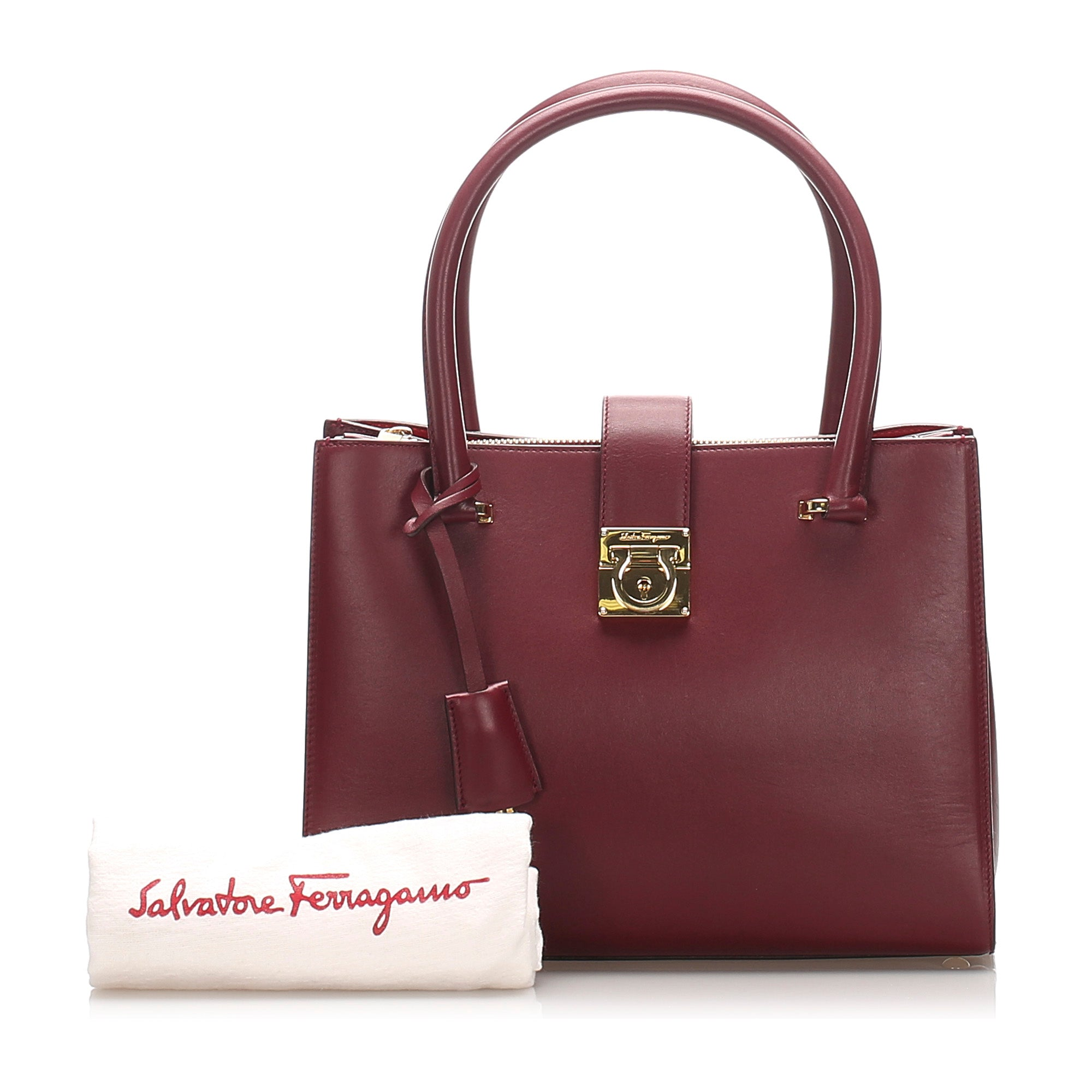 Ferragamo Red Gancini Leather Handbag
