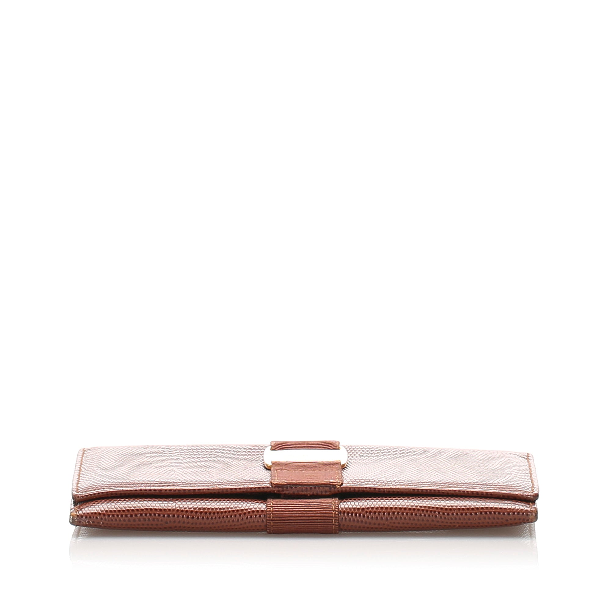 Ferragamo Brown Vara Leather Long Wallet