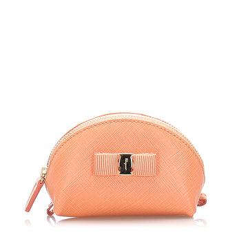 Ferragamo Pink Mini Vara Ribbon Leather Pouch