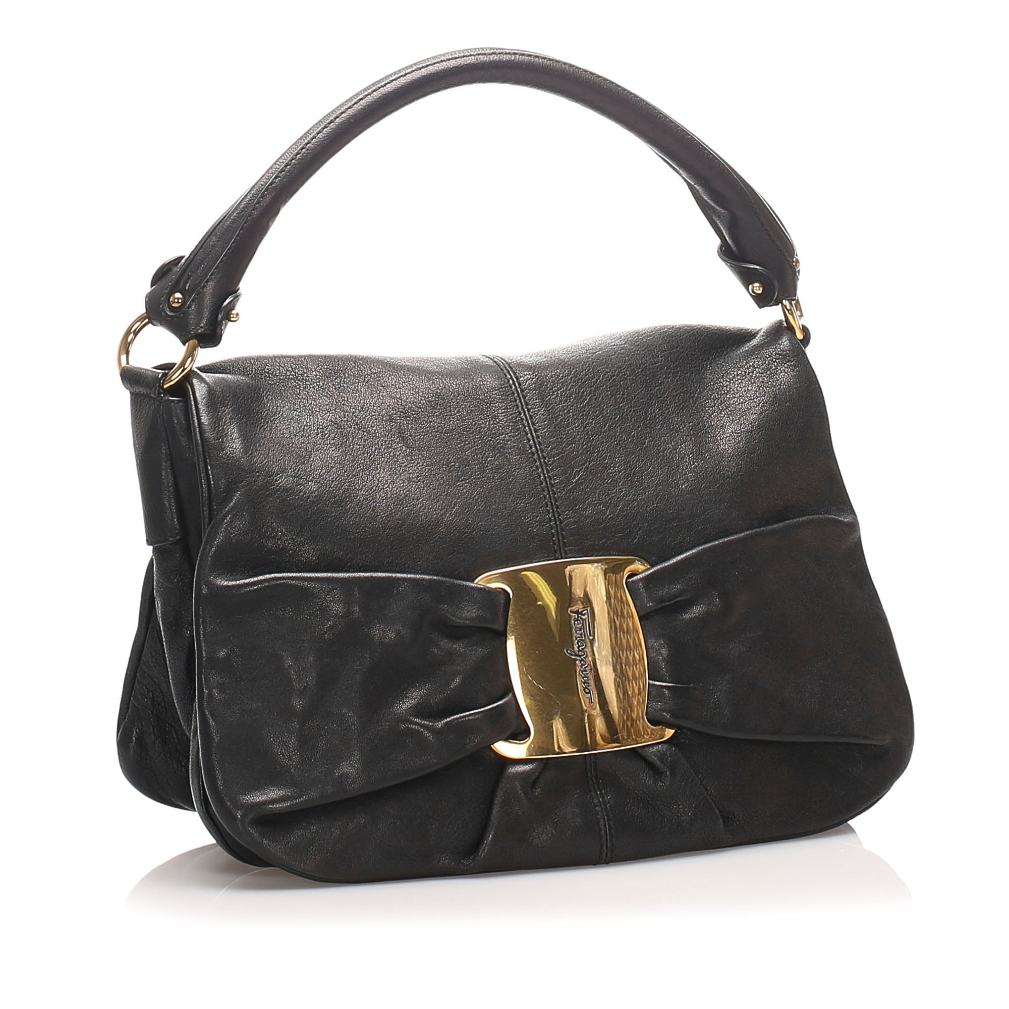Ferragamo Black Vara Leather Shoulder Bag