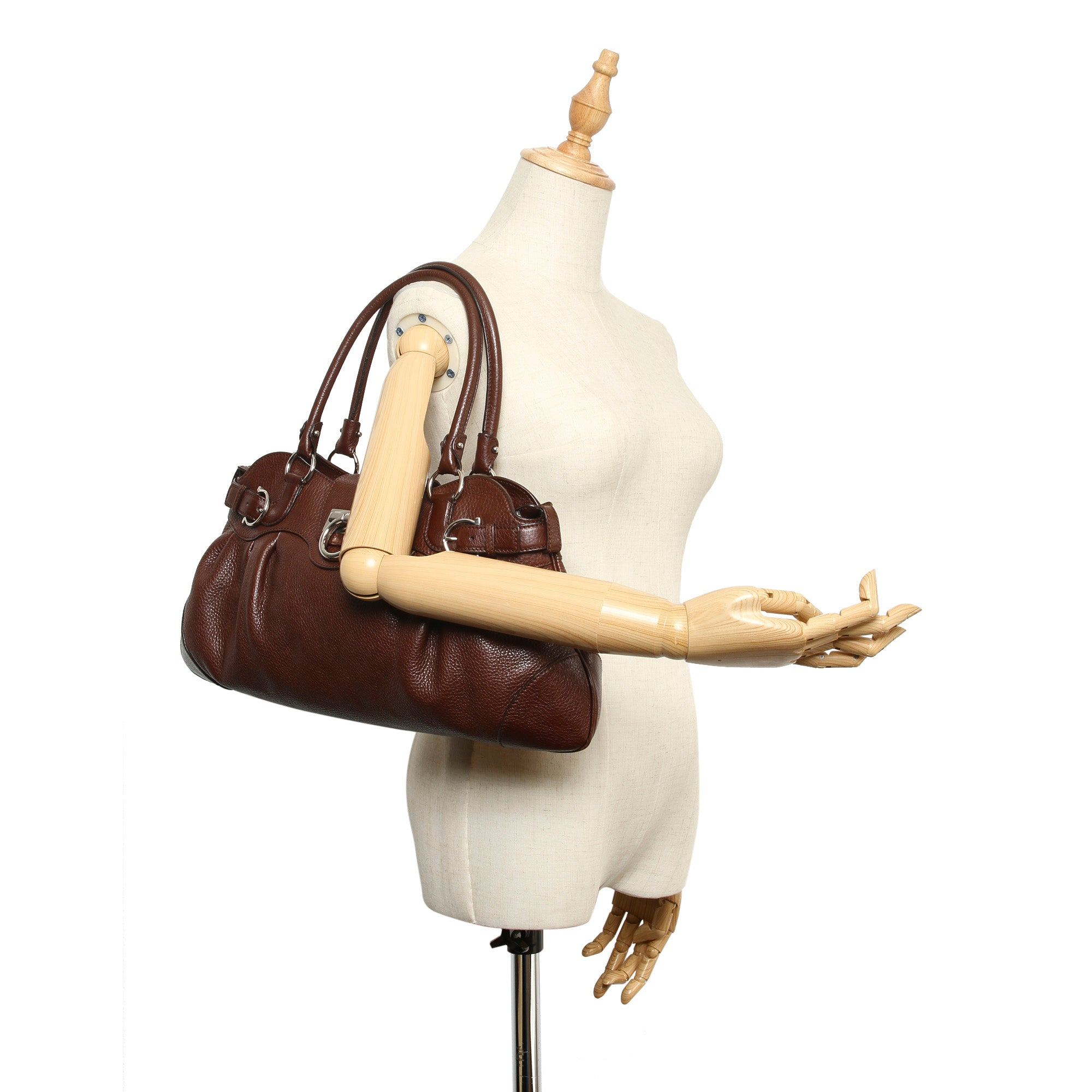 Ferragamo Brown Gancini Marissa Leather Shoulder Bag