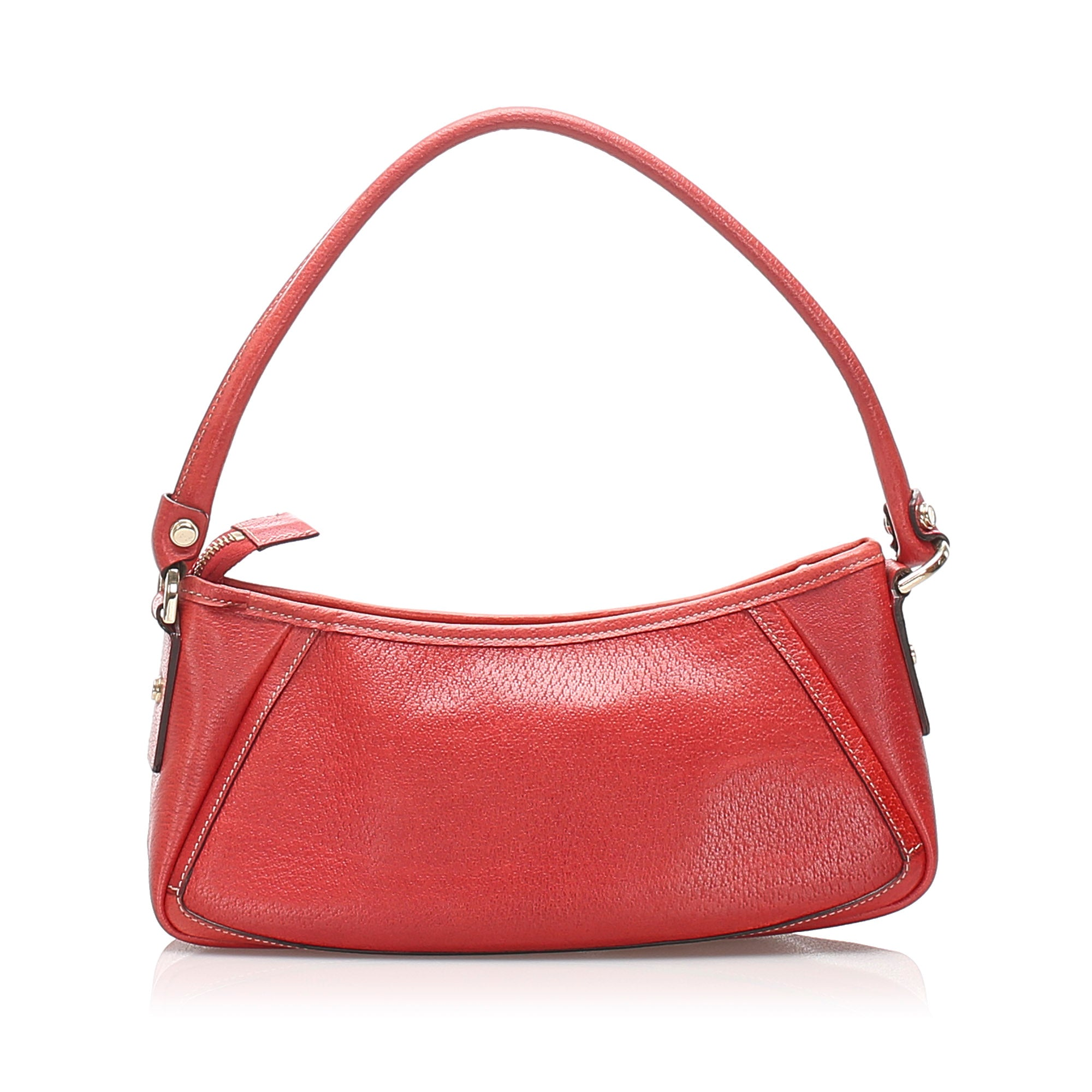 Gucci Red Abbey D-Ring Leather Baguette