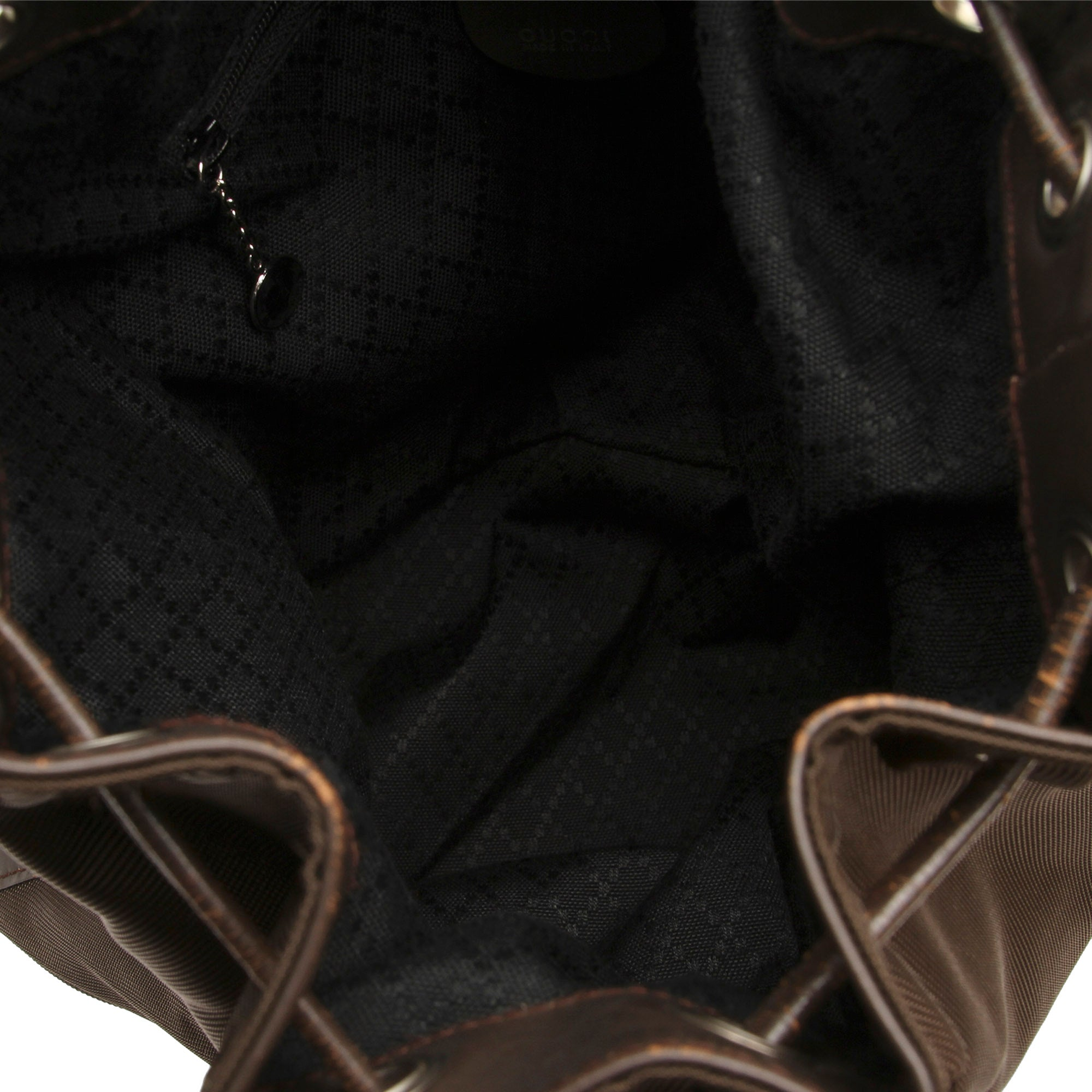 Gucci Black Bamboo Nylon Bucket Bag
