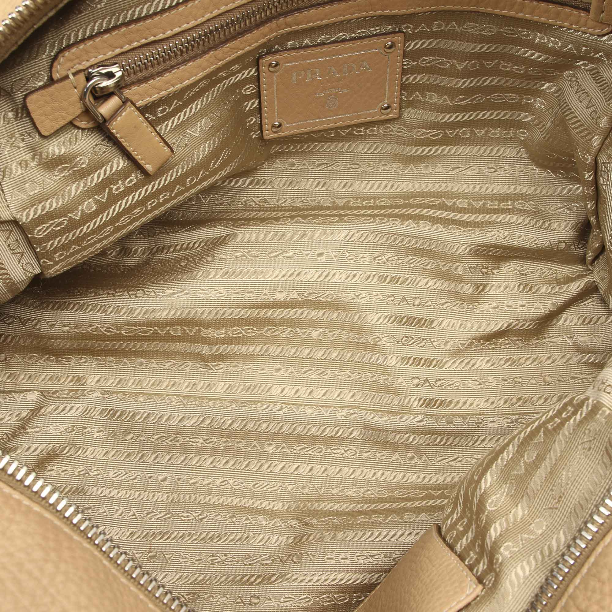 Prada Brown Vitello Daino Canapa Shoulder Bag