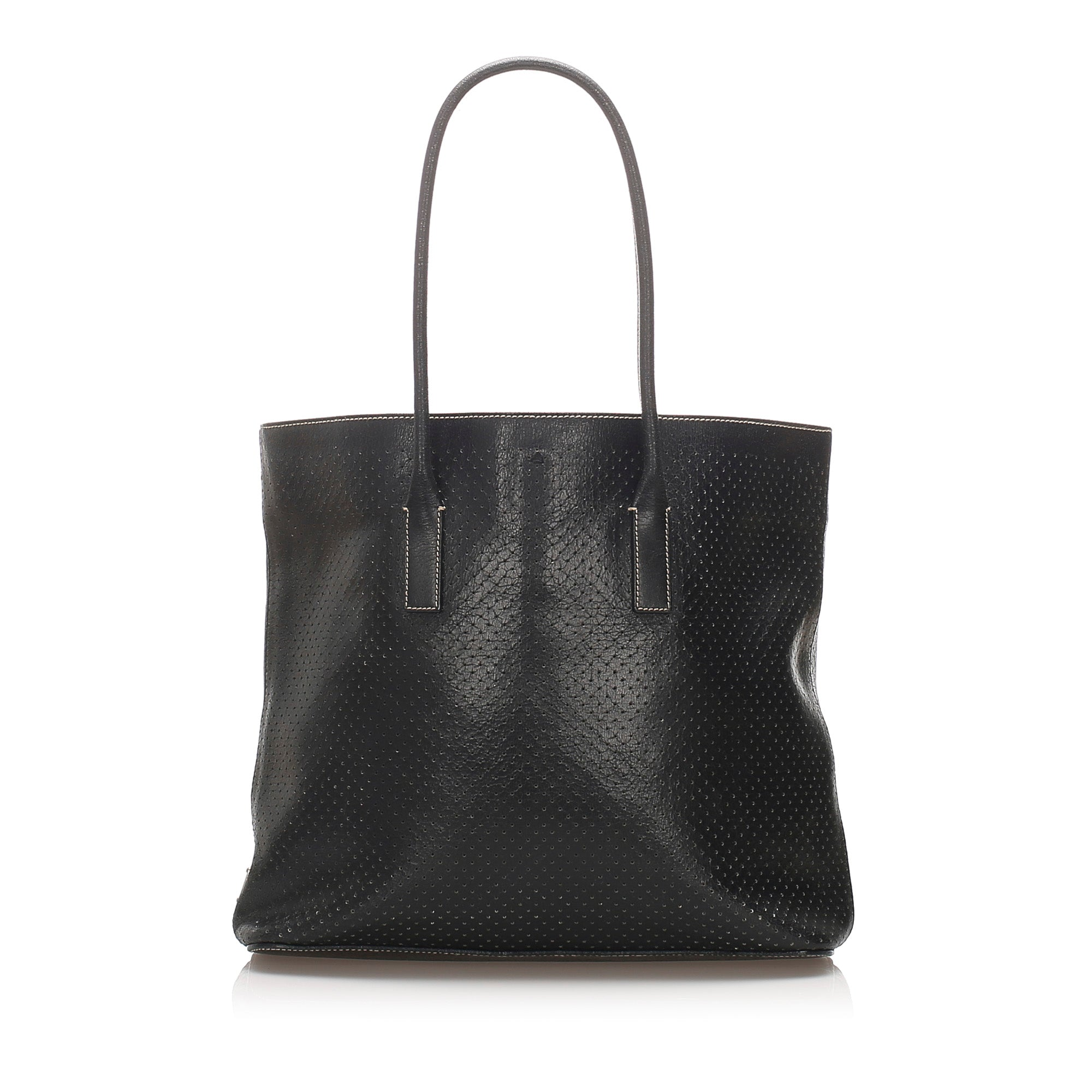 Prada Black Perforated Leather Tote Bag