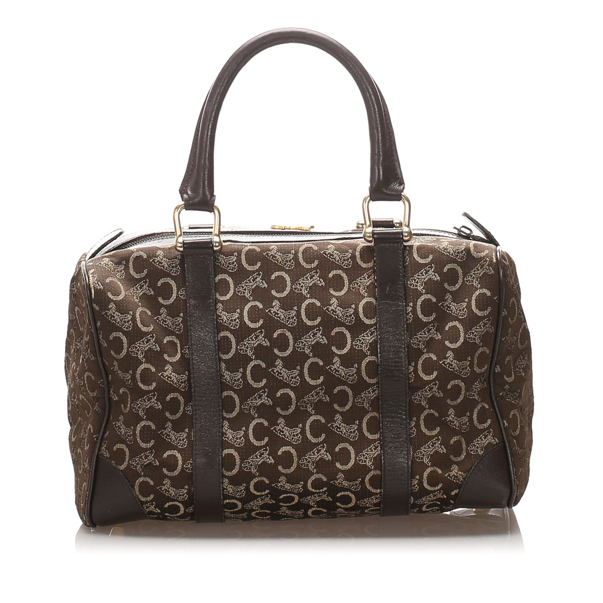 Celine Brown C Macadam Canvas Boston Bag