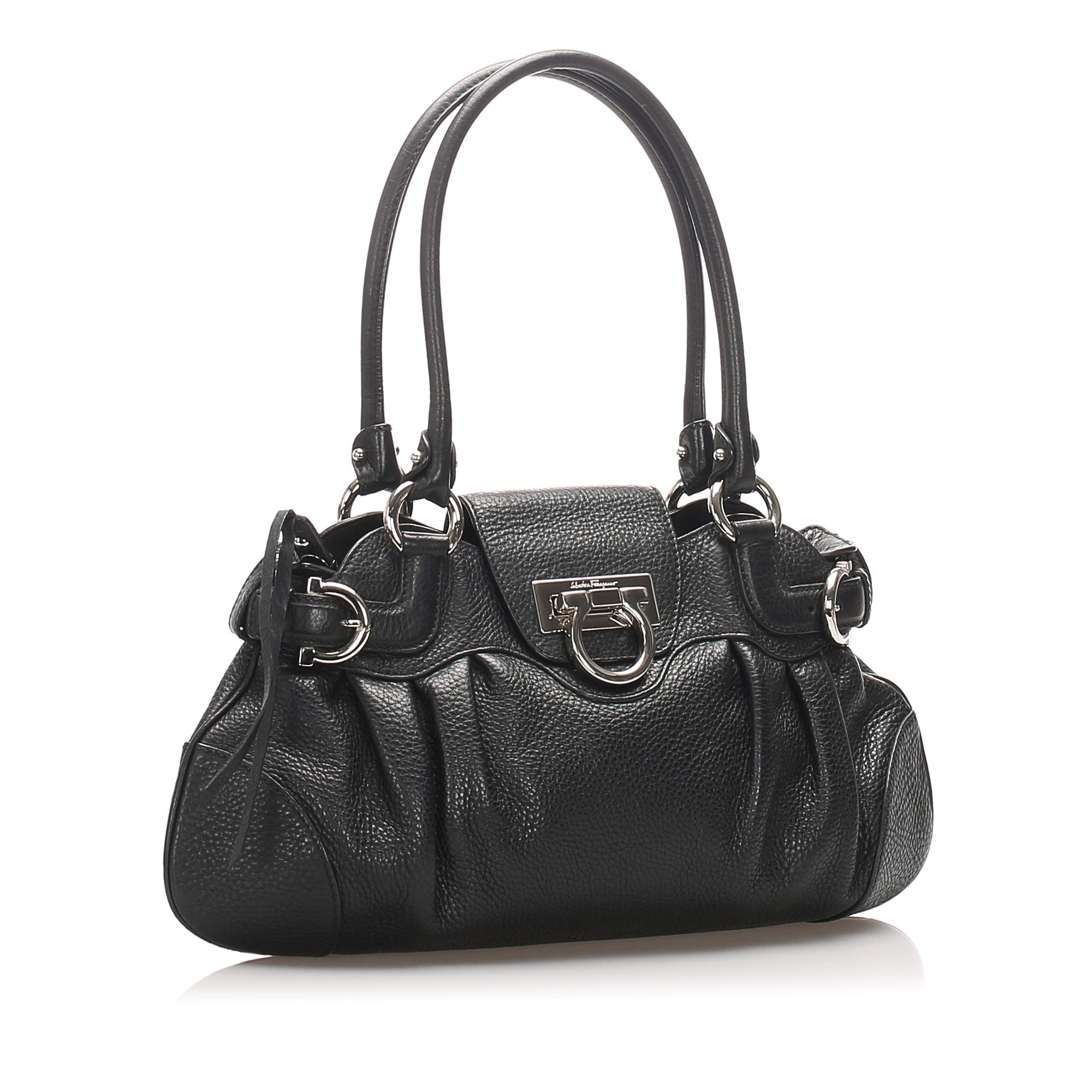 Ferragamo Black Marisa Leather Shoulder Bag