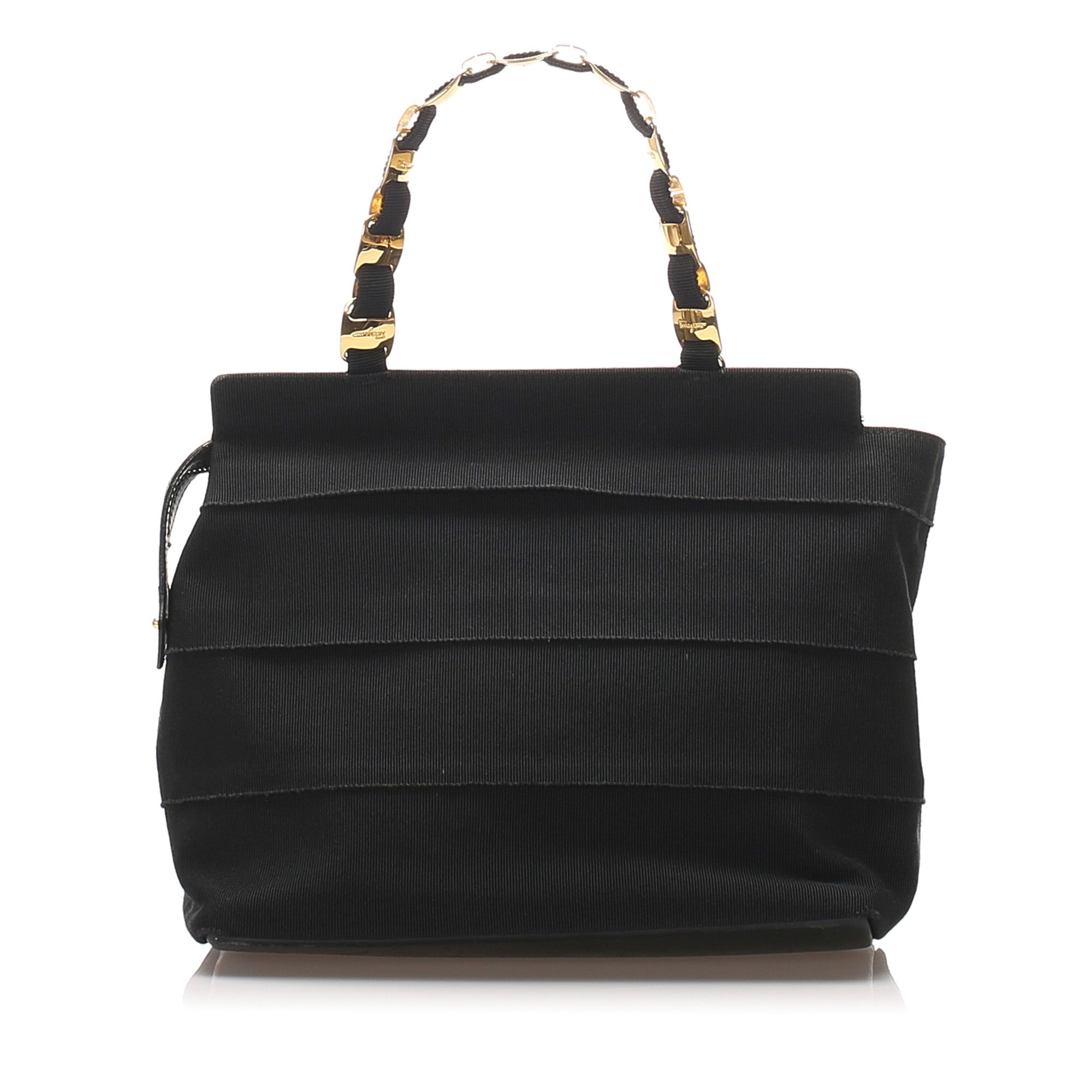 Ferragamo Black Tiered Grosgrain Chain Tote Bag