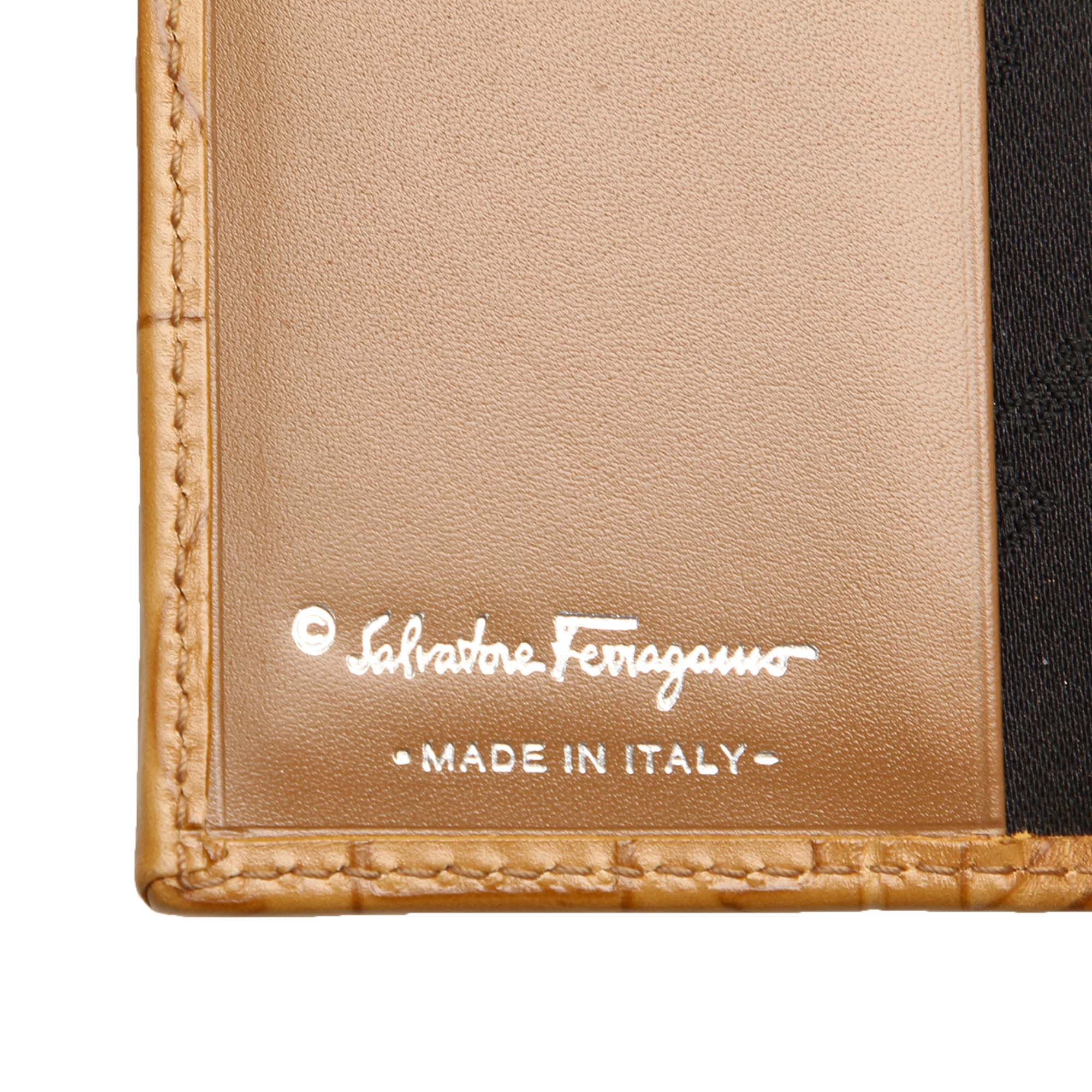 Ferragamo Brown Gancini Embossed Leather Key Case