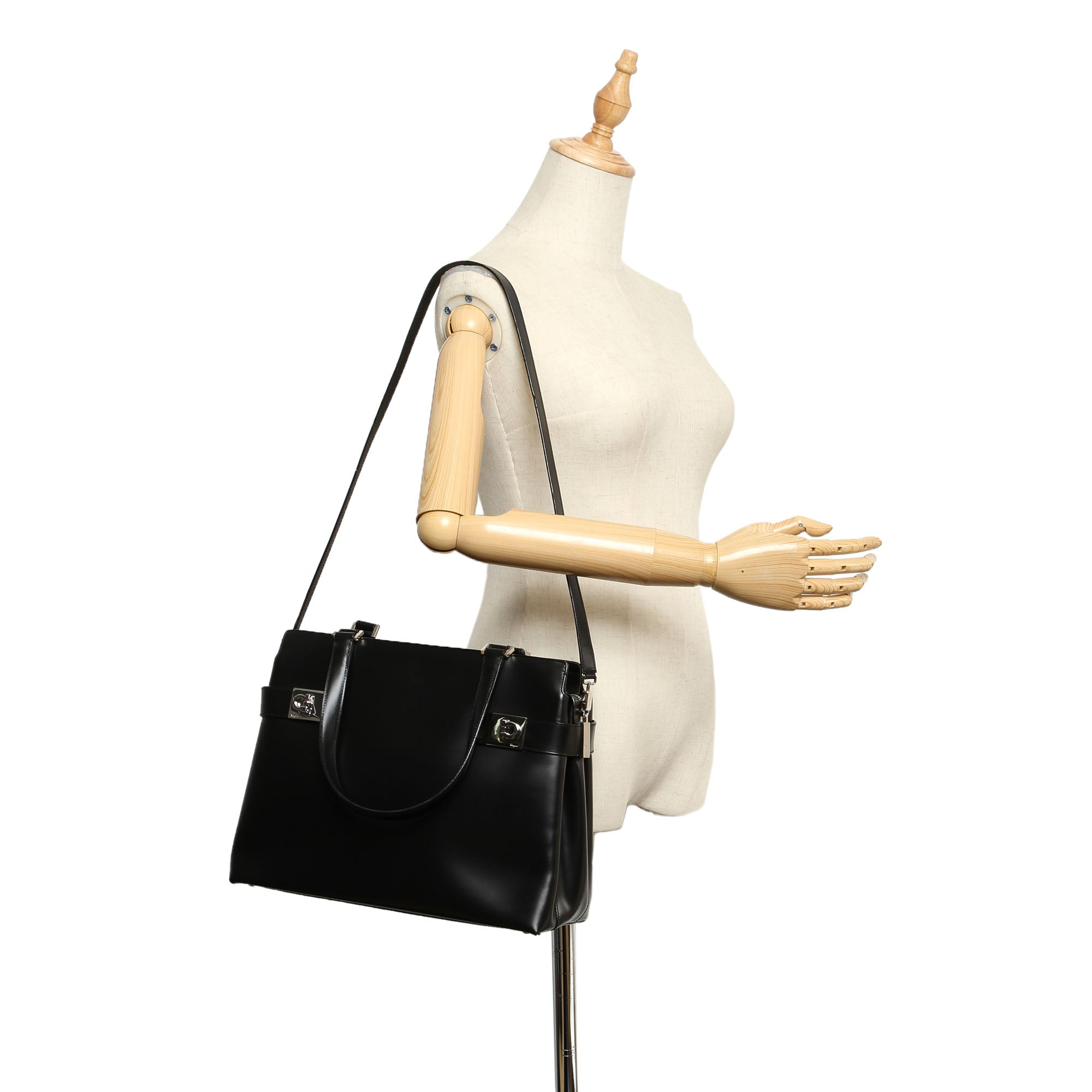 Ferragamo Black Gancini Leather Tote Bag