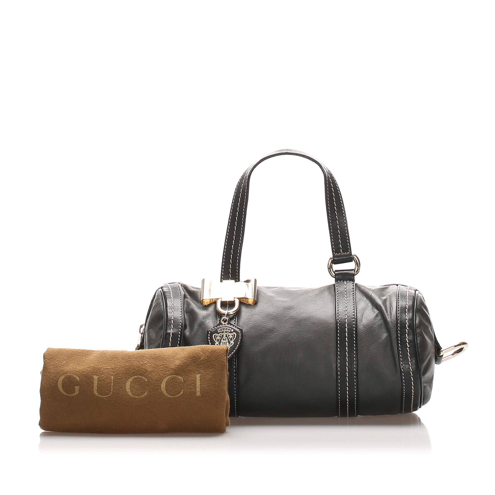 Gucci Black Mini Duchessa Leather Boston Bag