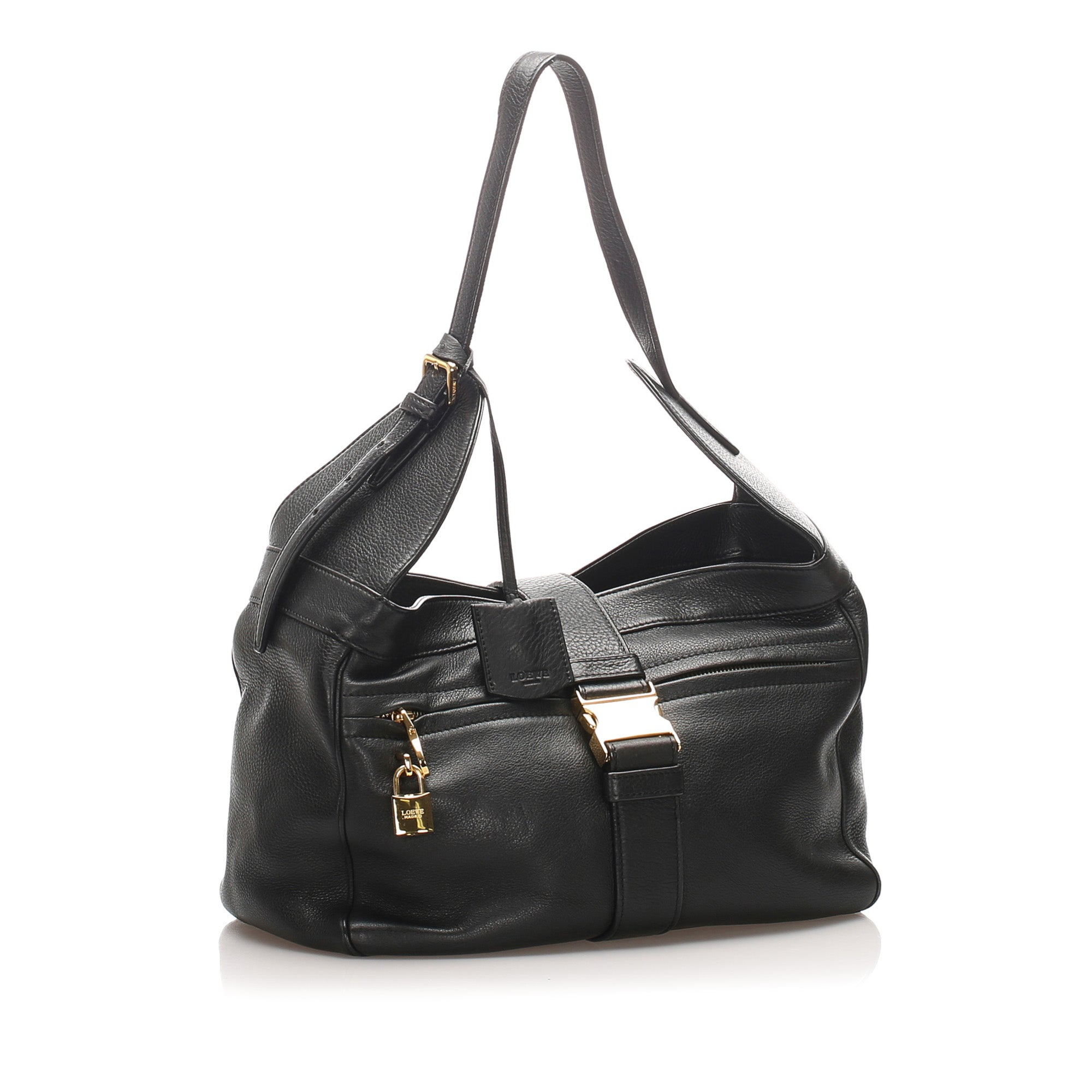 Loewe Black Leather Shoulder Bag